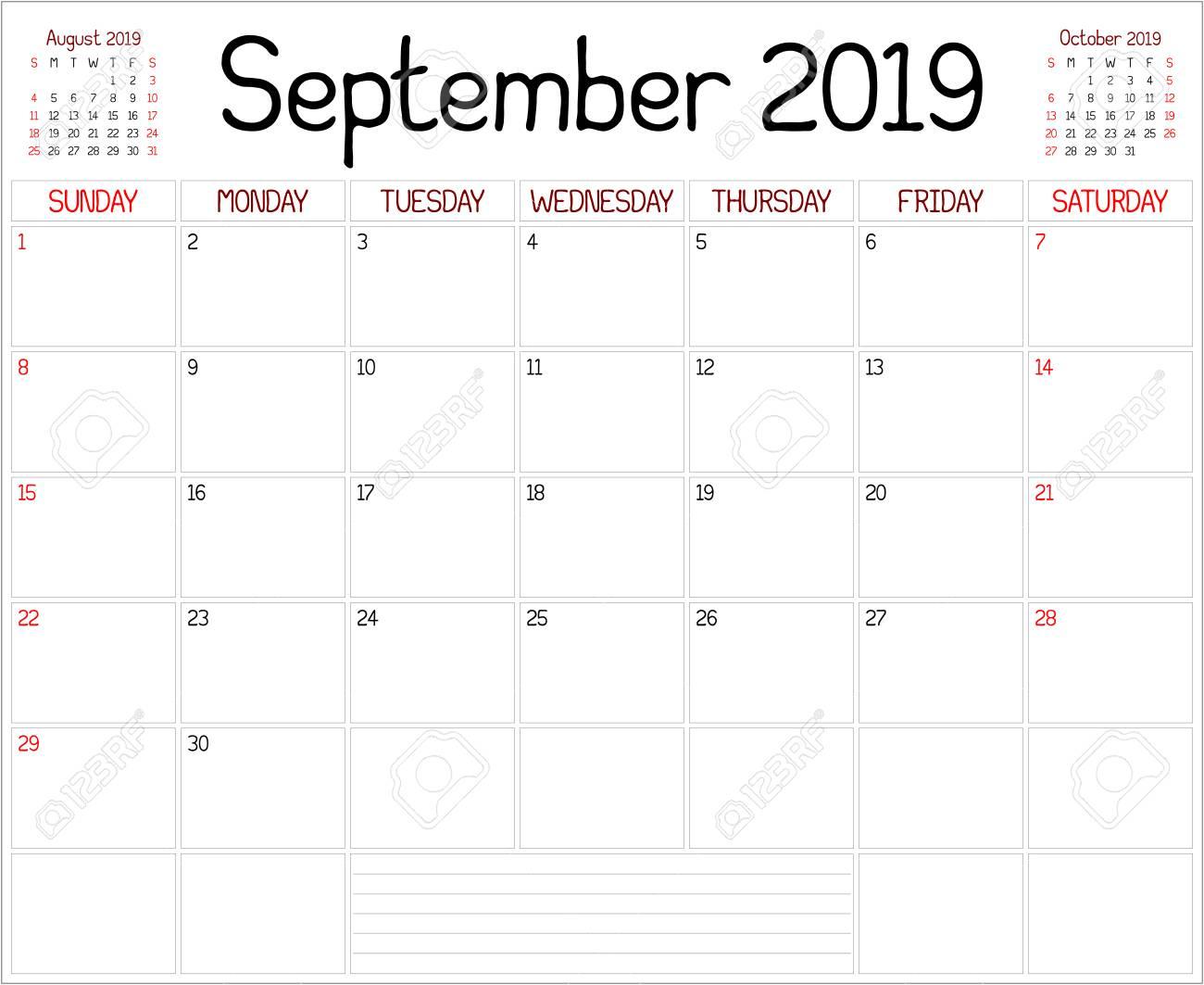 Year 2019 September Planner - A Monthly Planner Calendar For..