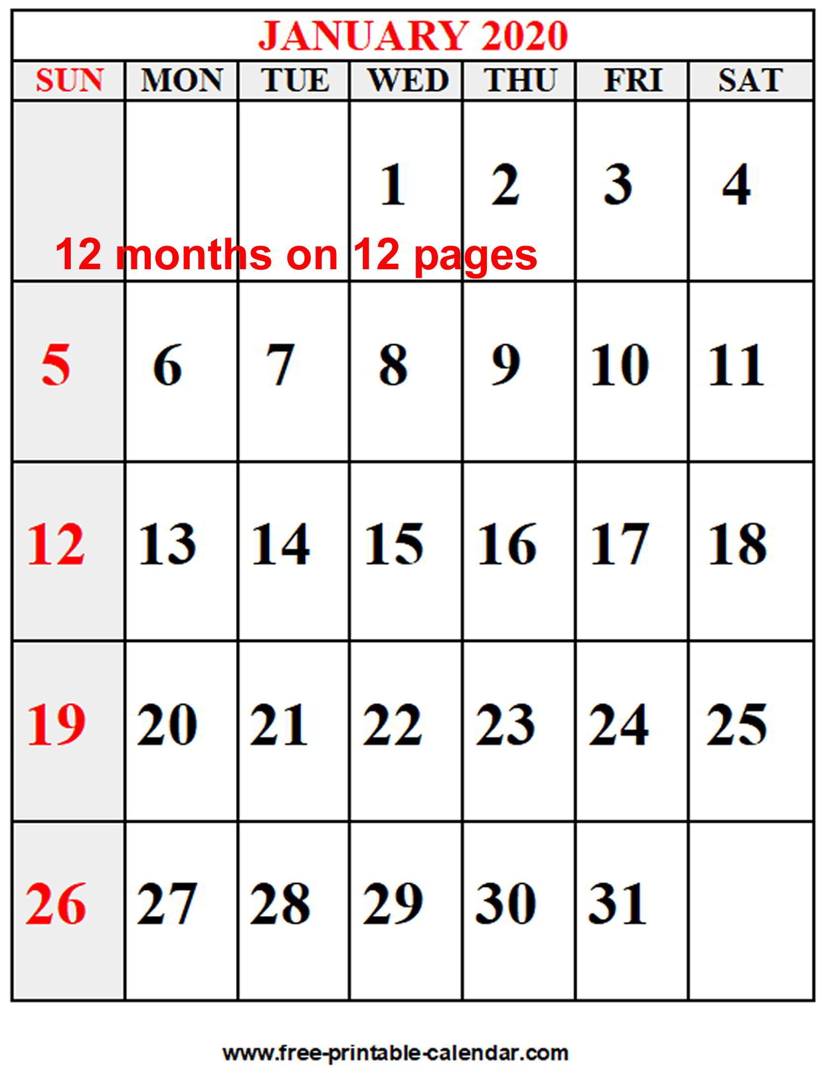 Year 2020 Calendar - Free-Printable-Calendar