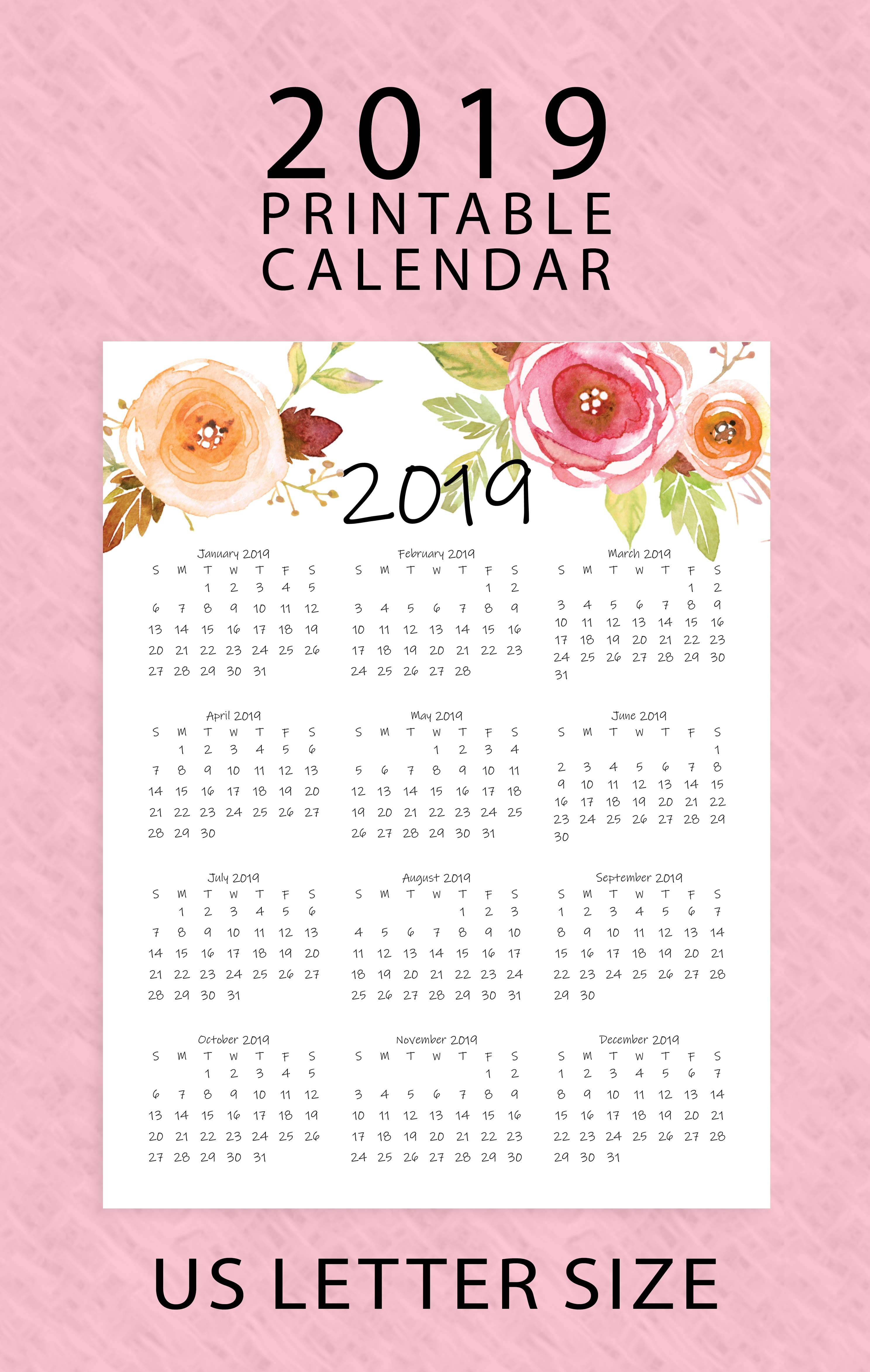 Year At A Glance Calendar 2019 | Printable Calendar | Letter