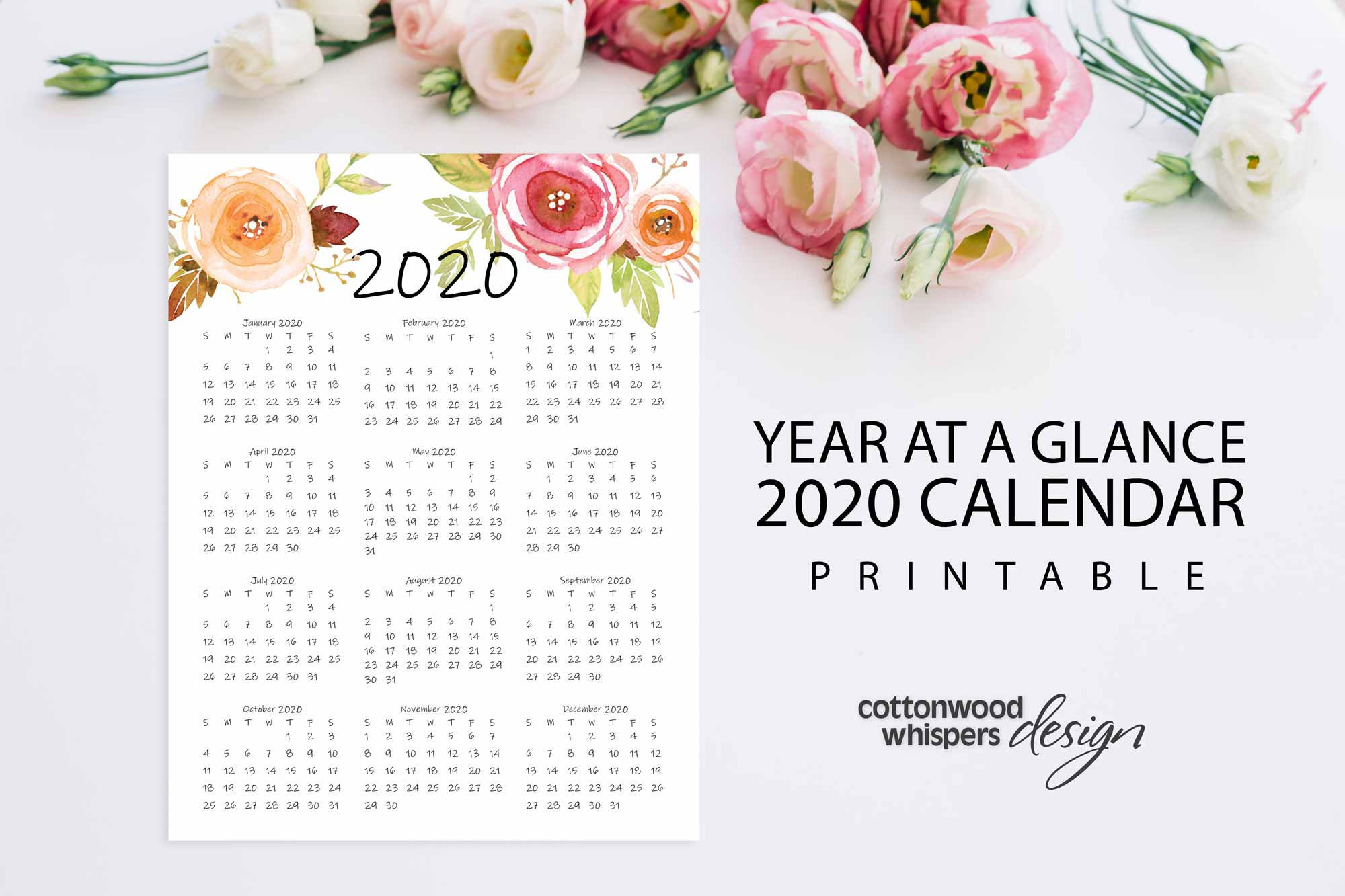 "Year At A Glance Calendar 2020   Printable Calendar   Letter Size 8.5"" X  11""   Instant Download   Portrait   Planner"