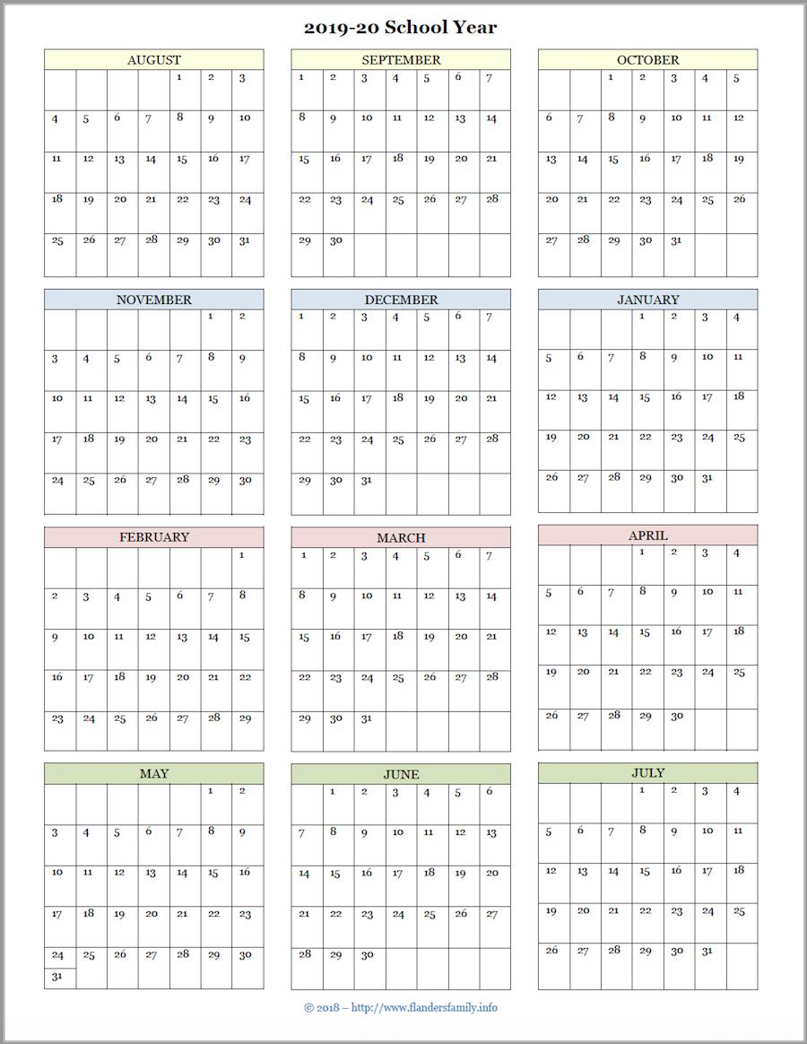 Year At A Glance Calendar School Year 2019-2020 Free