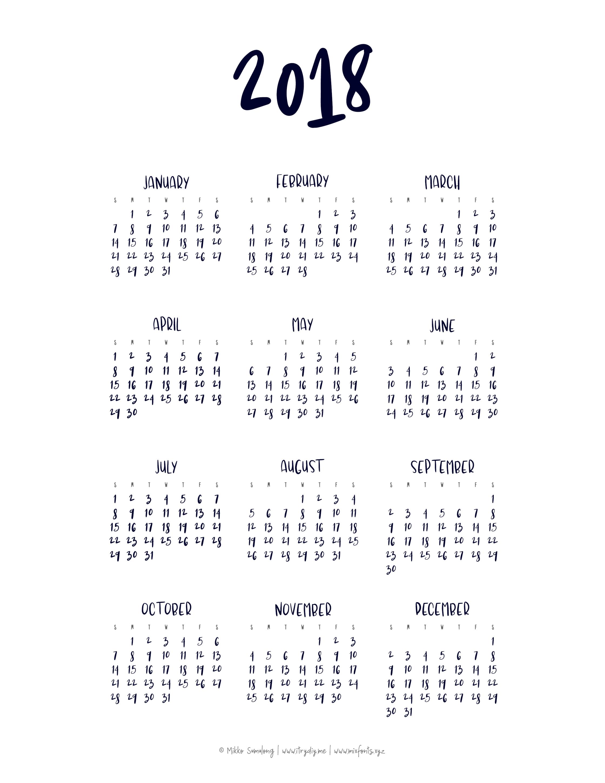 Year At A Glance Calendar | Templates & Printables
