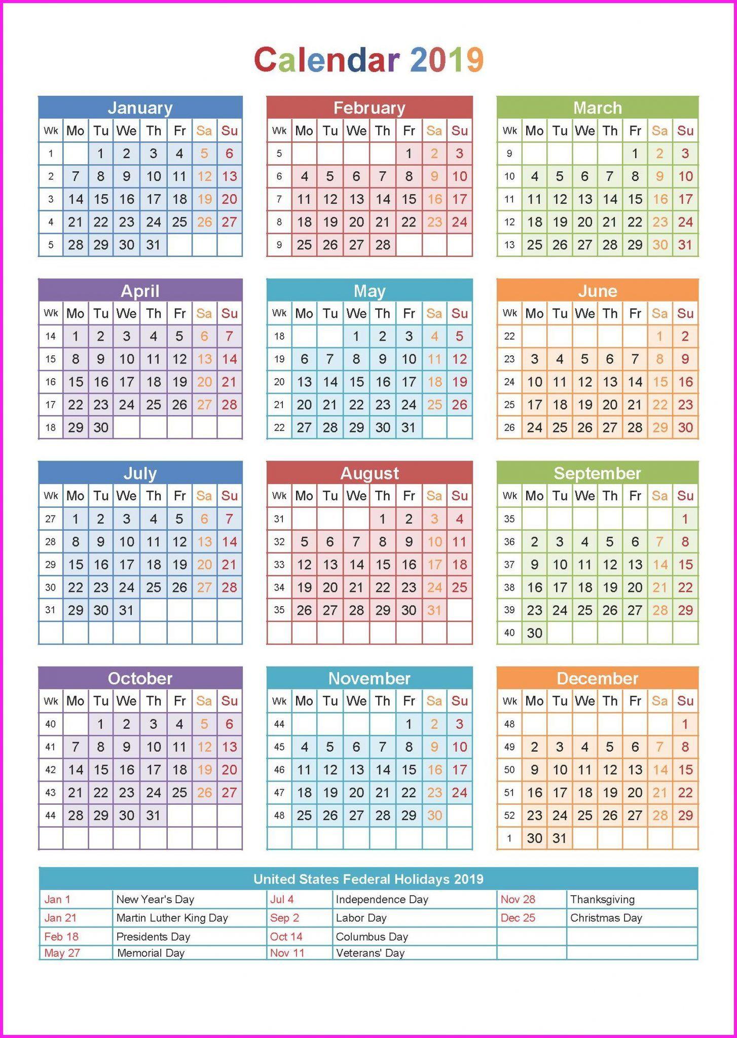 Yearly 2019 Calendar Printable | Top 10 Free 2019 Calendar