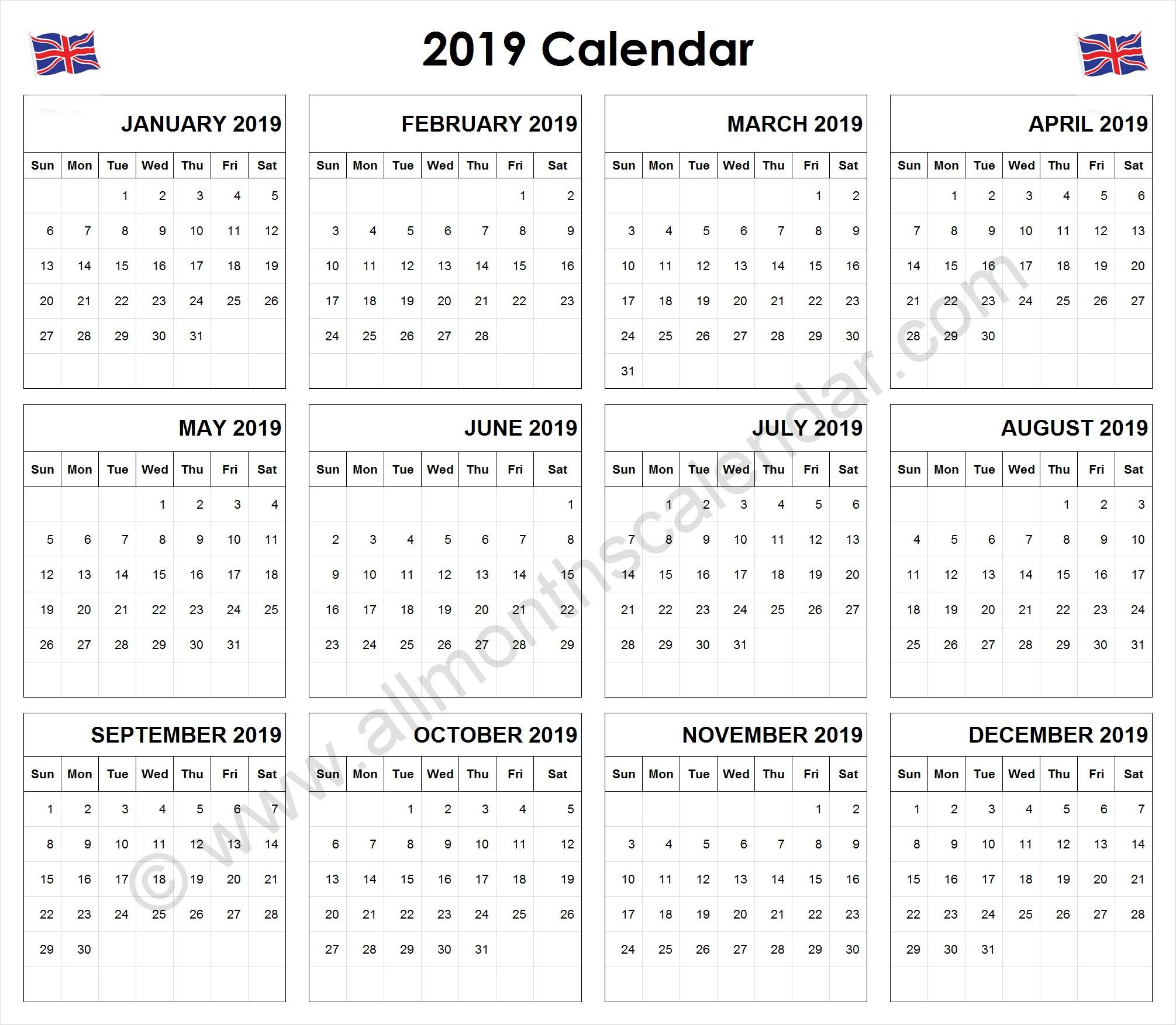 Yearly 2019 Calendar Uk | 12 Month 2019 Calendar Printable