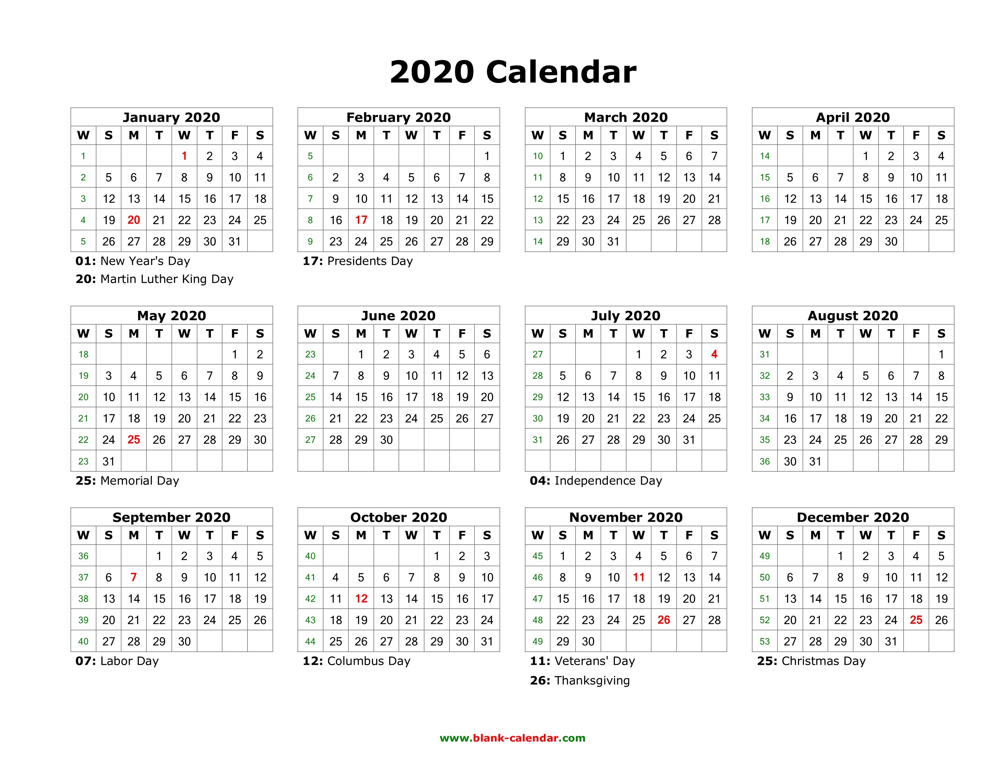Yearly 2020 Calendar Holidays Blank Landscape In Printable