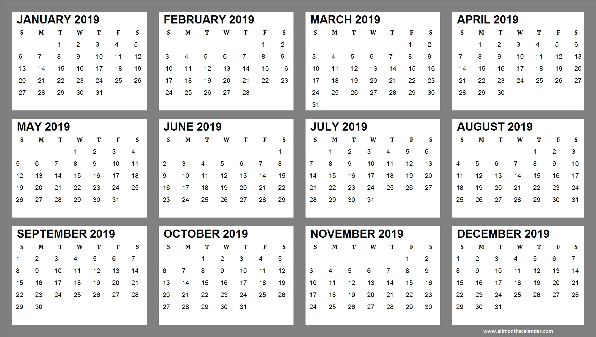 Yearly Calendar January 2019 To December 2019 Template | 12