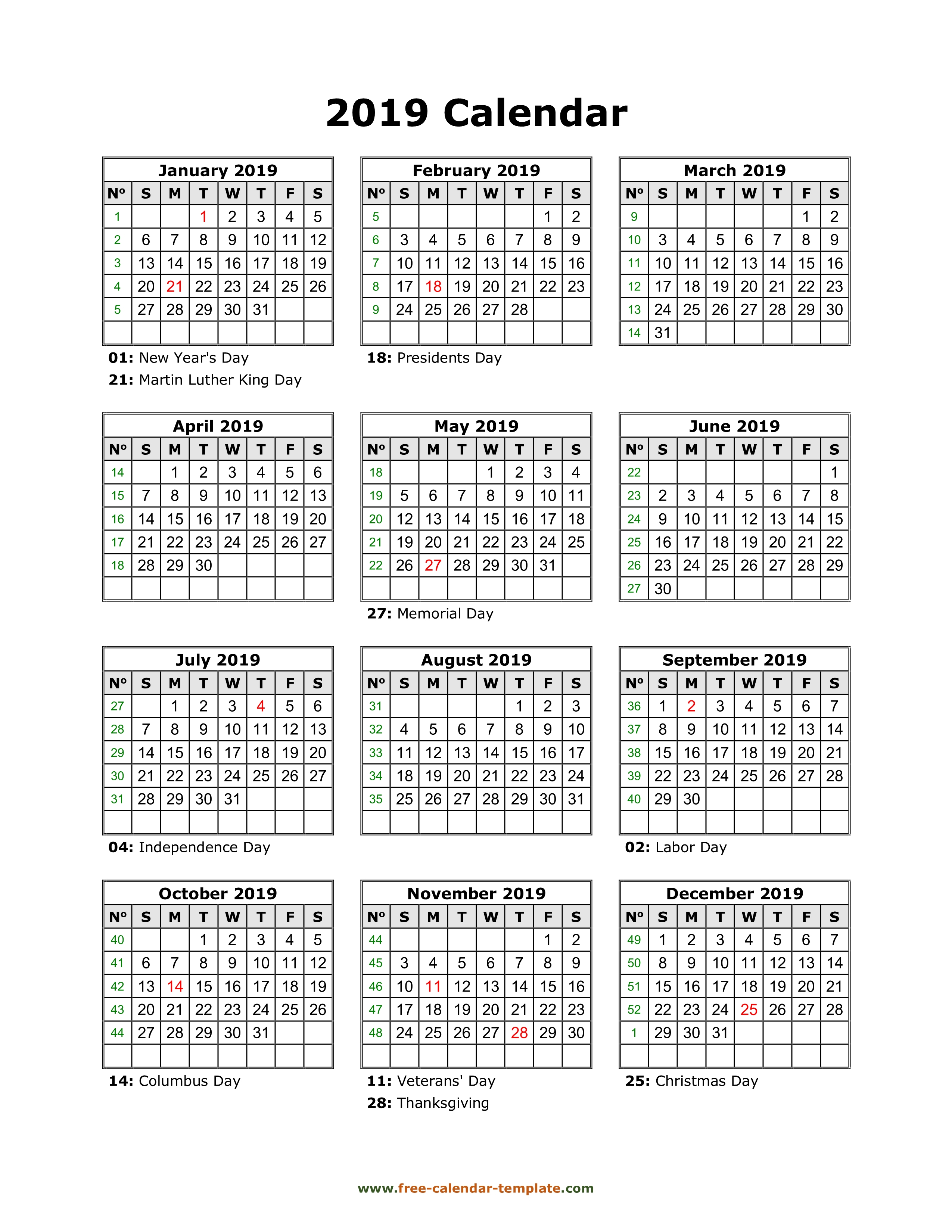 Yearly Printable Calendar 2019 With Holidays | Free-Calendar
