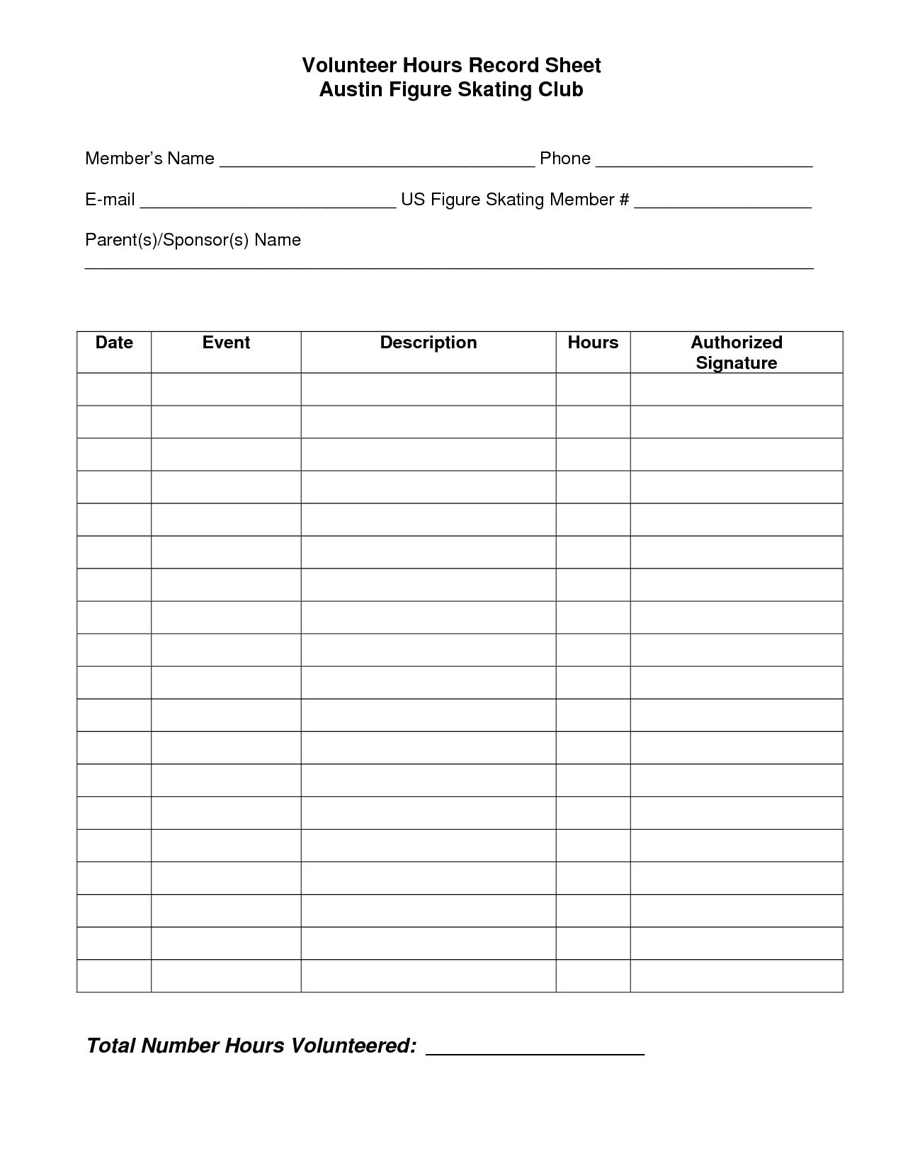 001 Template Ideas Volunteer Hours Marvelous Log Sheet Free