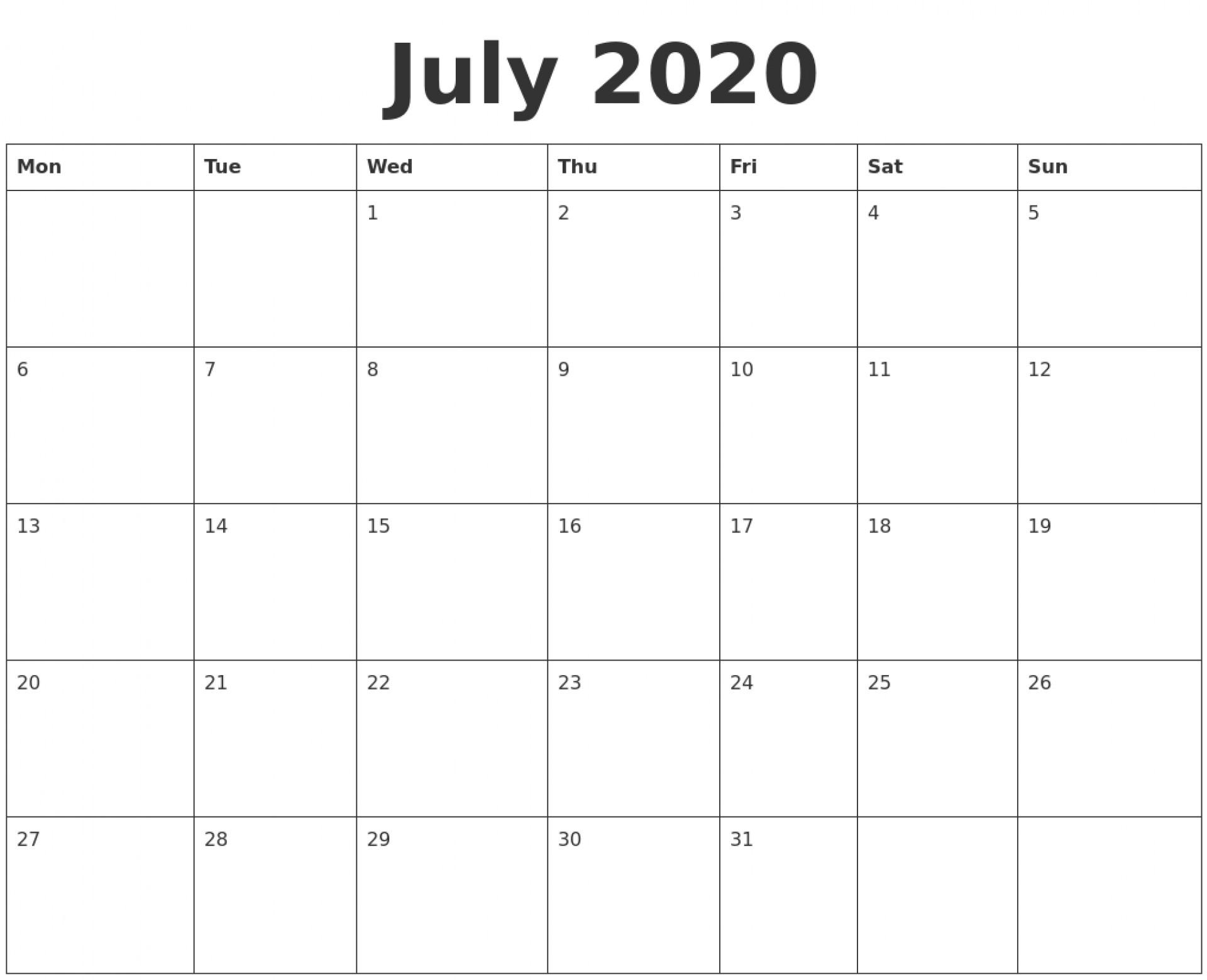 002 July Blank Calendar Template Monday Start Ideas Fill