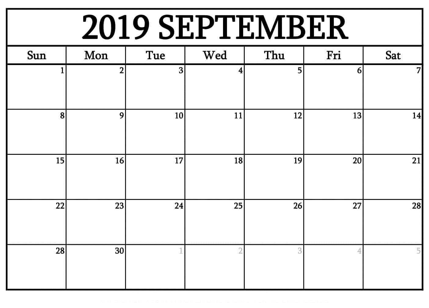 009 Template Ideas Free Blank Calendar Printable September