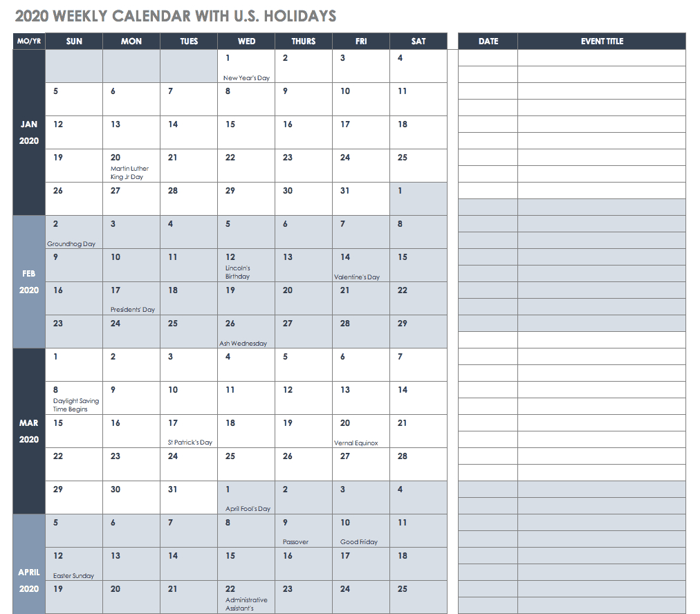 012 Ic Weekly Calendar With Us Holidays Template Ideas Free