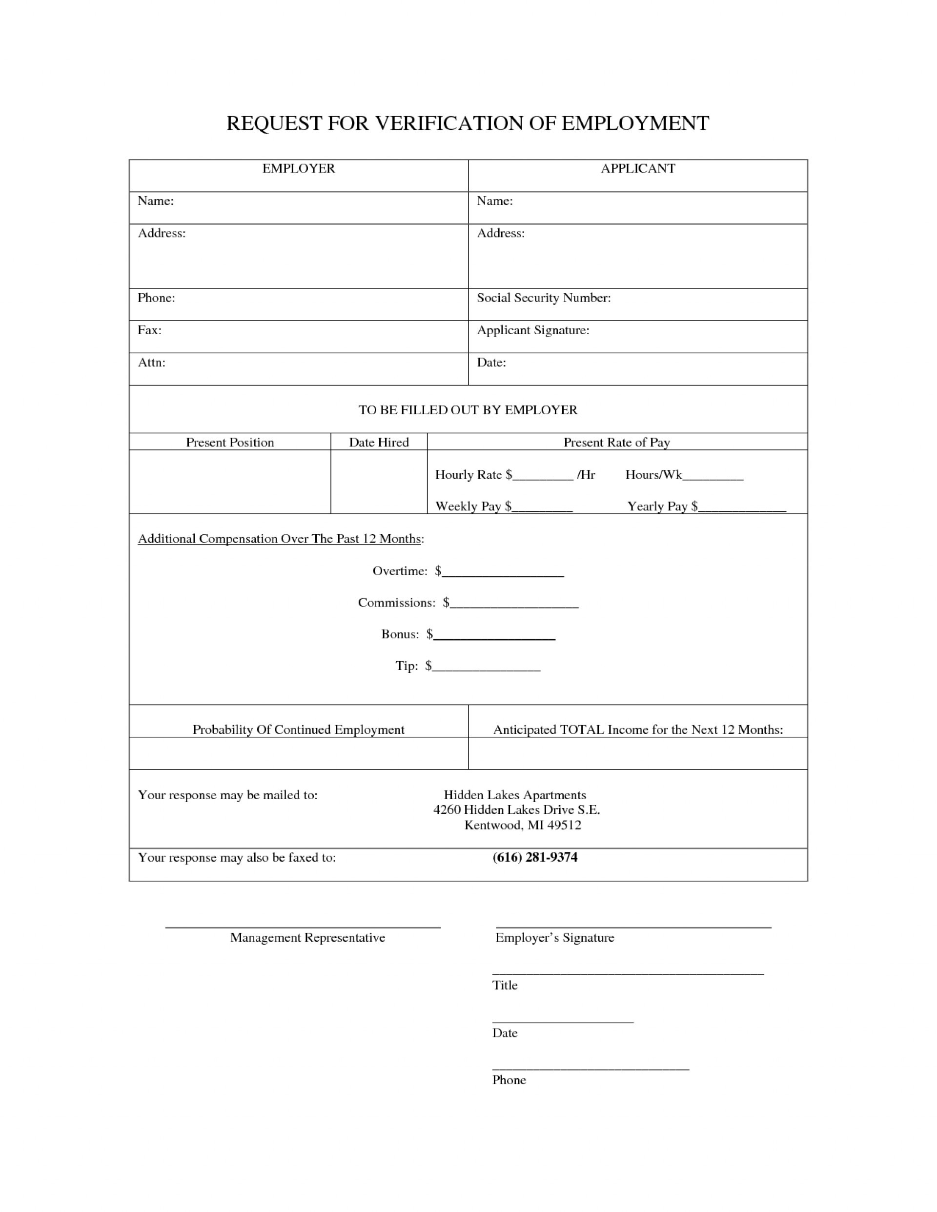 015 Employment Verification Form Templates Template Ideas Of