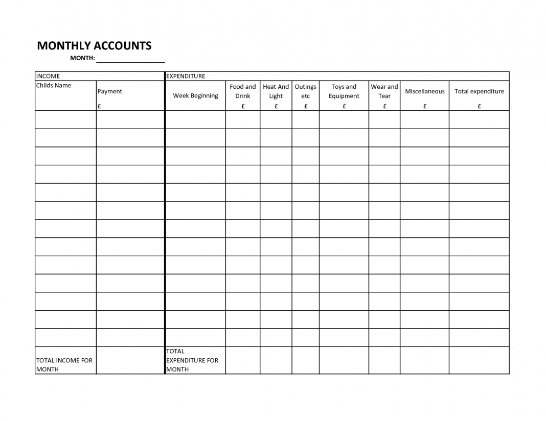 017 20Free Printable Household Budget Spreadsheet Tracking