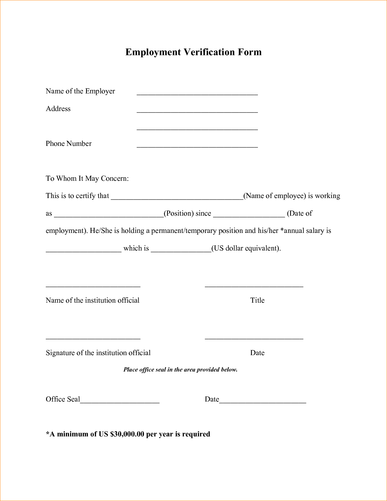 017 Letter Of Employment Offer Verification Form Templates