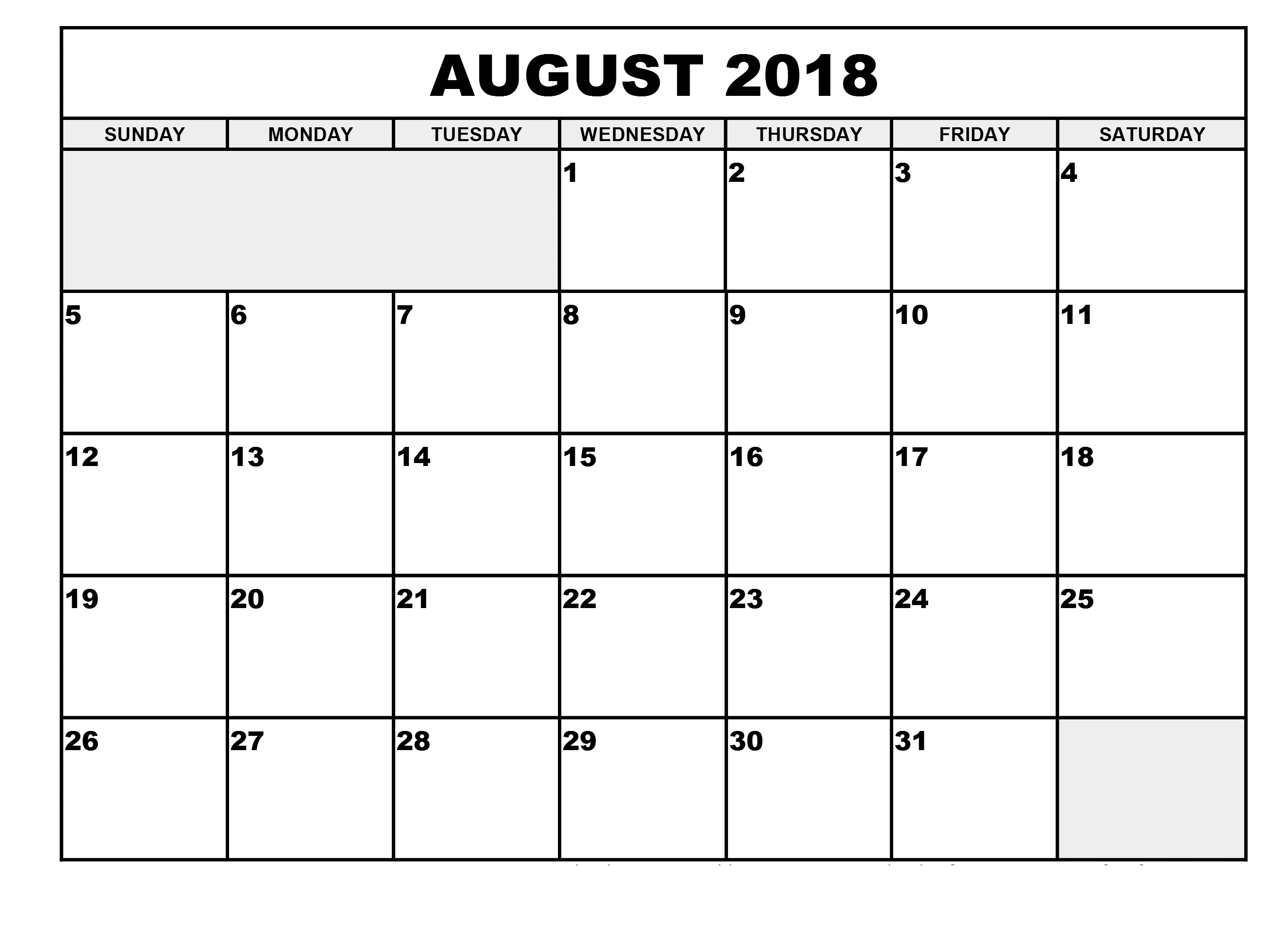 018 Monthly Schedule Template Free Printable Calendar August