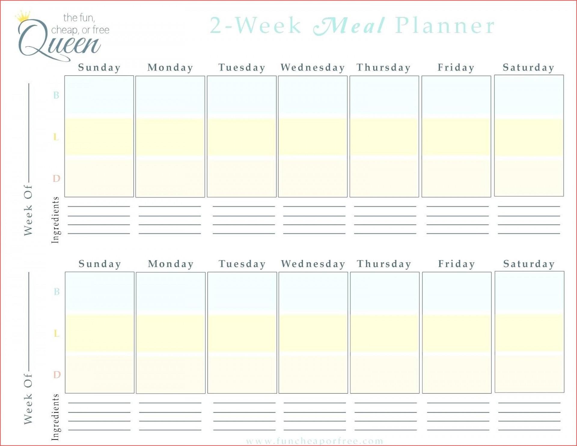 022 Two Week Calendar Template Free Printable Blank