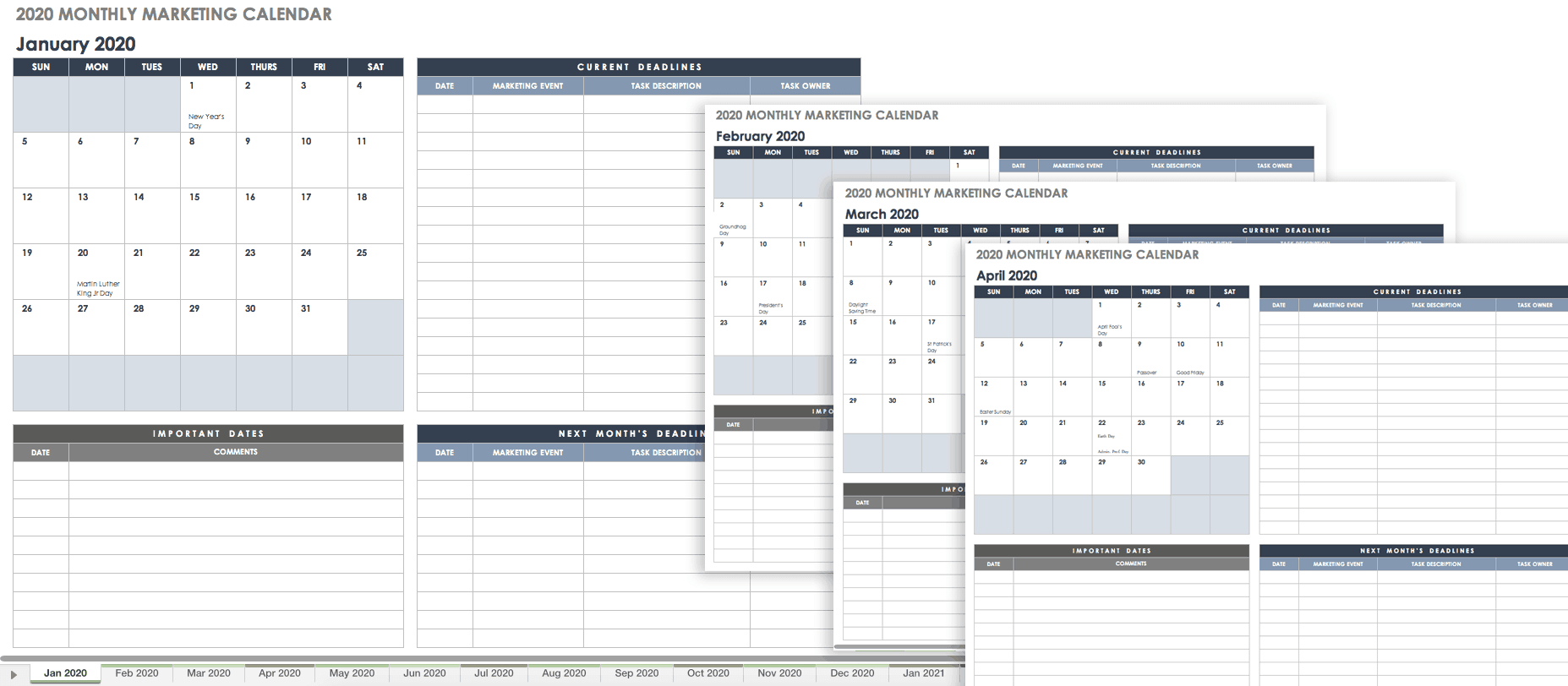 024 Free Excel Budget Calendar Template Personal Worksheet