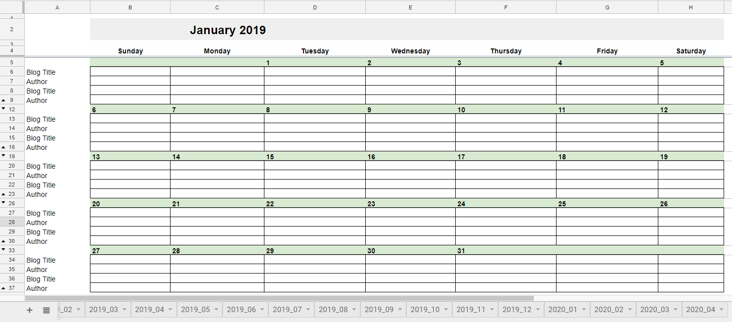 025 Free Editorial Calendar In Google Sheets January Monthly