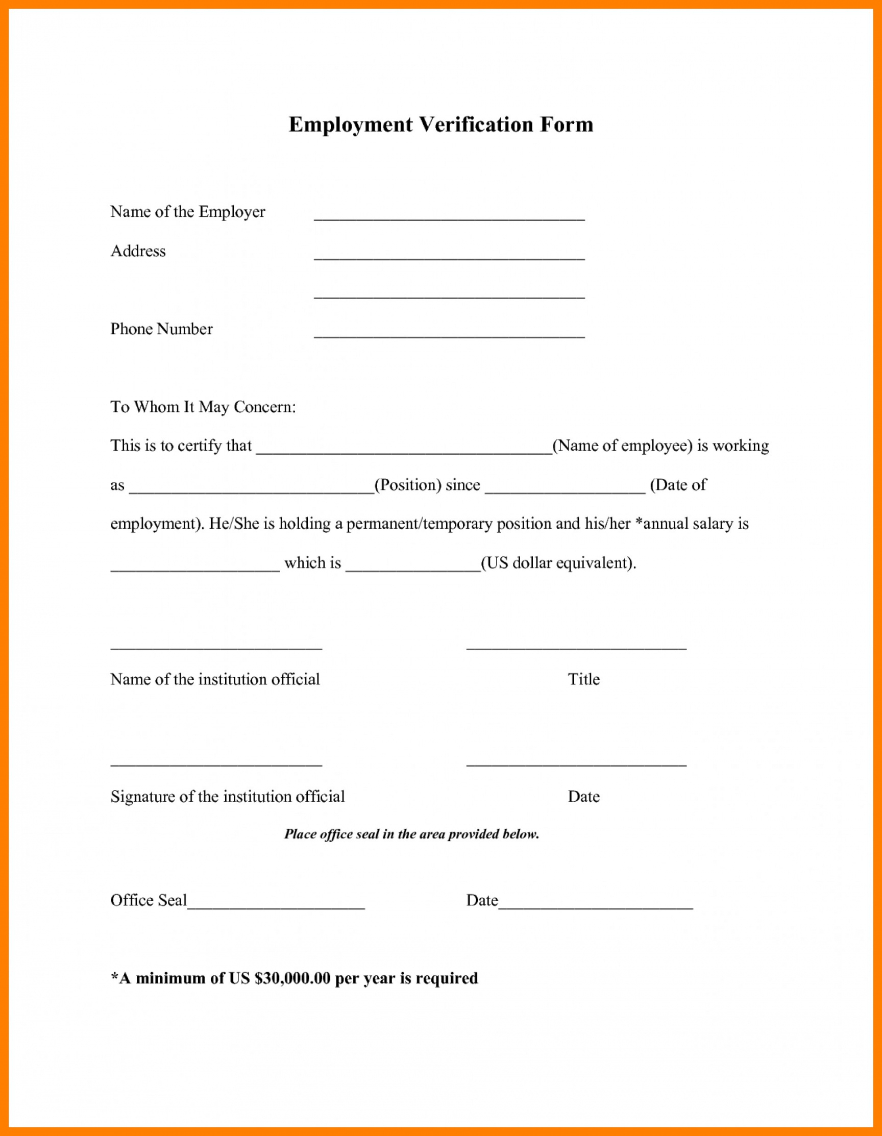 029 Verification Of Employment Template Ideas Printable Form