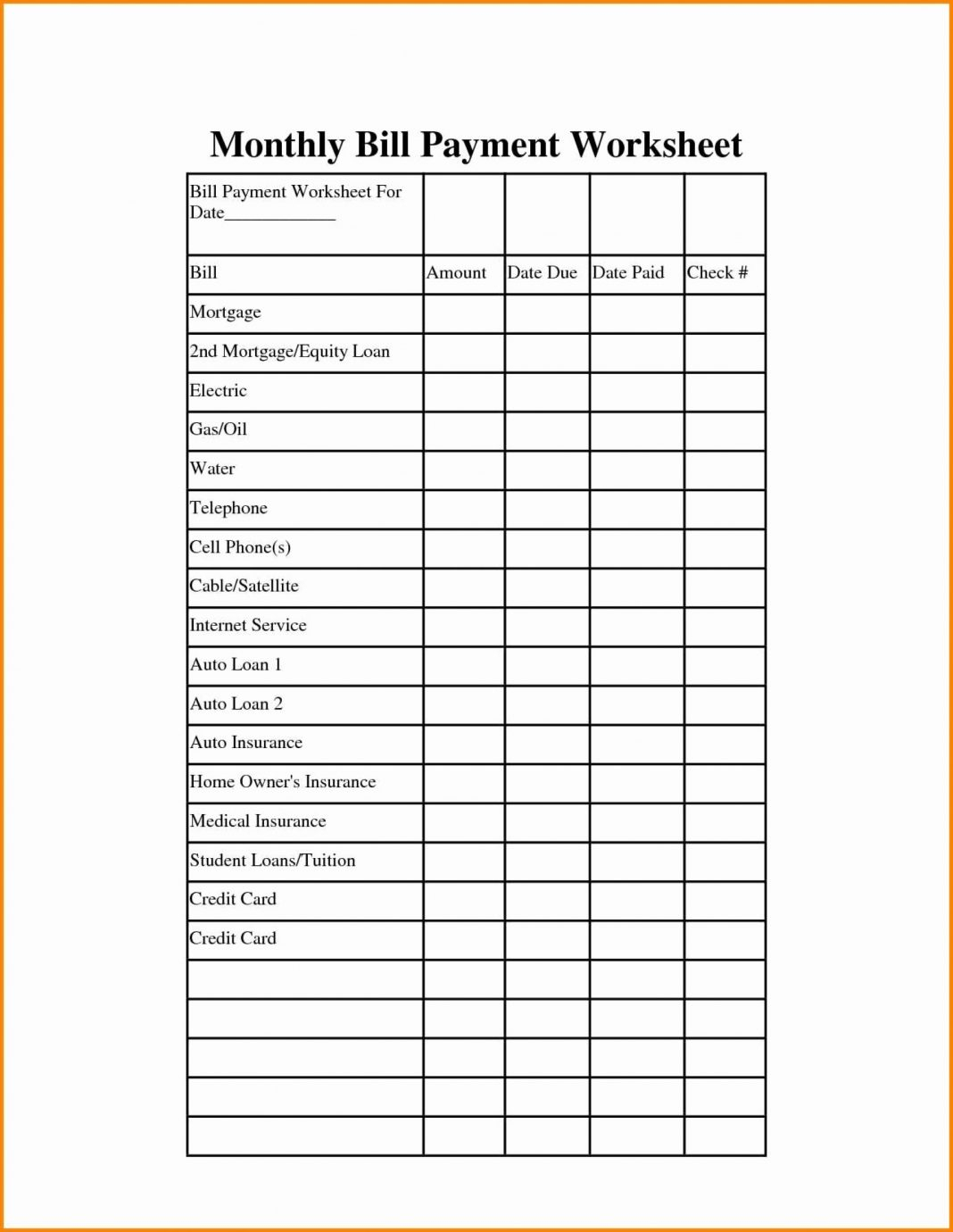 030 Excel Monthly Budget Template With Due Dates Ideas