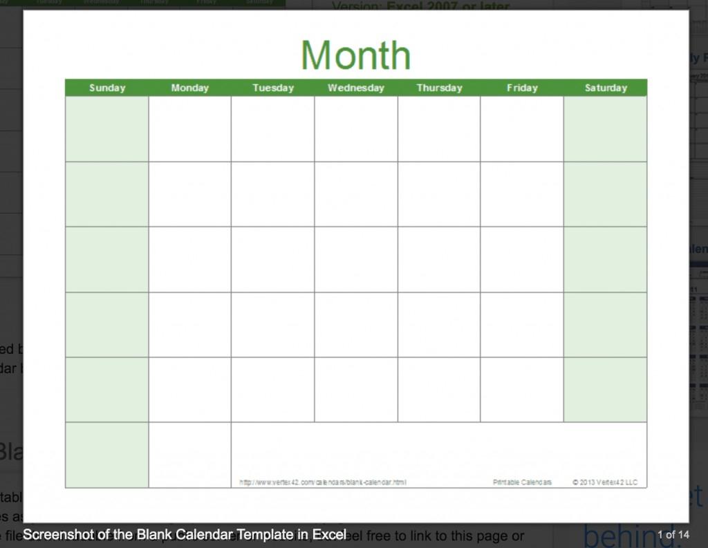 033 Free Excel Calendar Template Vertex42 Blank Ideas