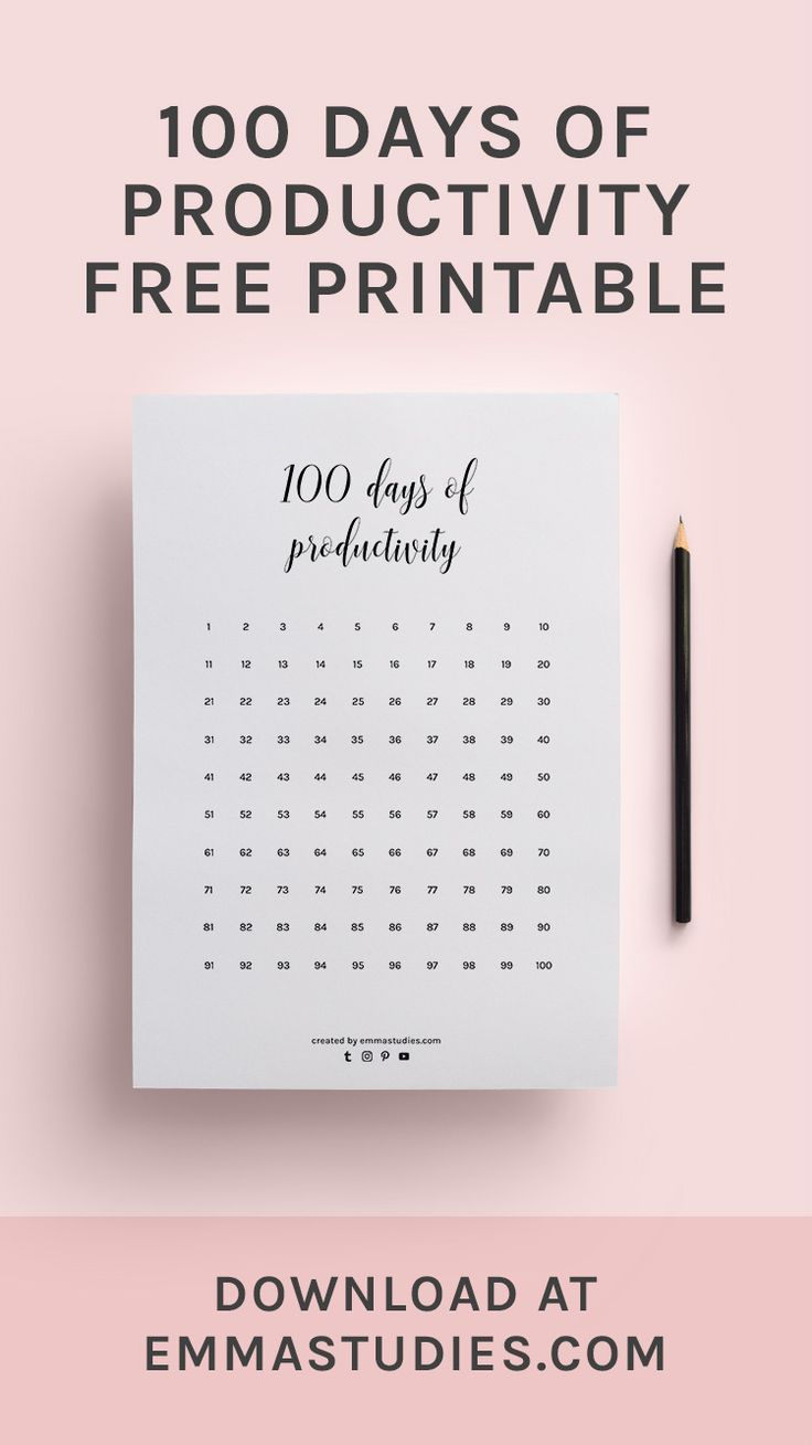 100 Days Of Productivity Calendar Progress Tracker Printable