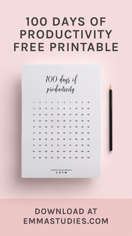 100 Days Of Productivity Calendar Progress Tracker Printable