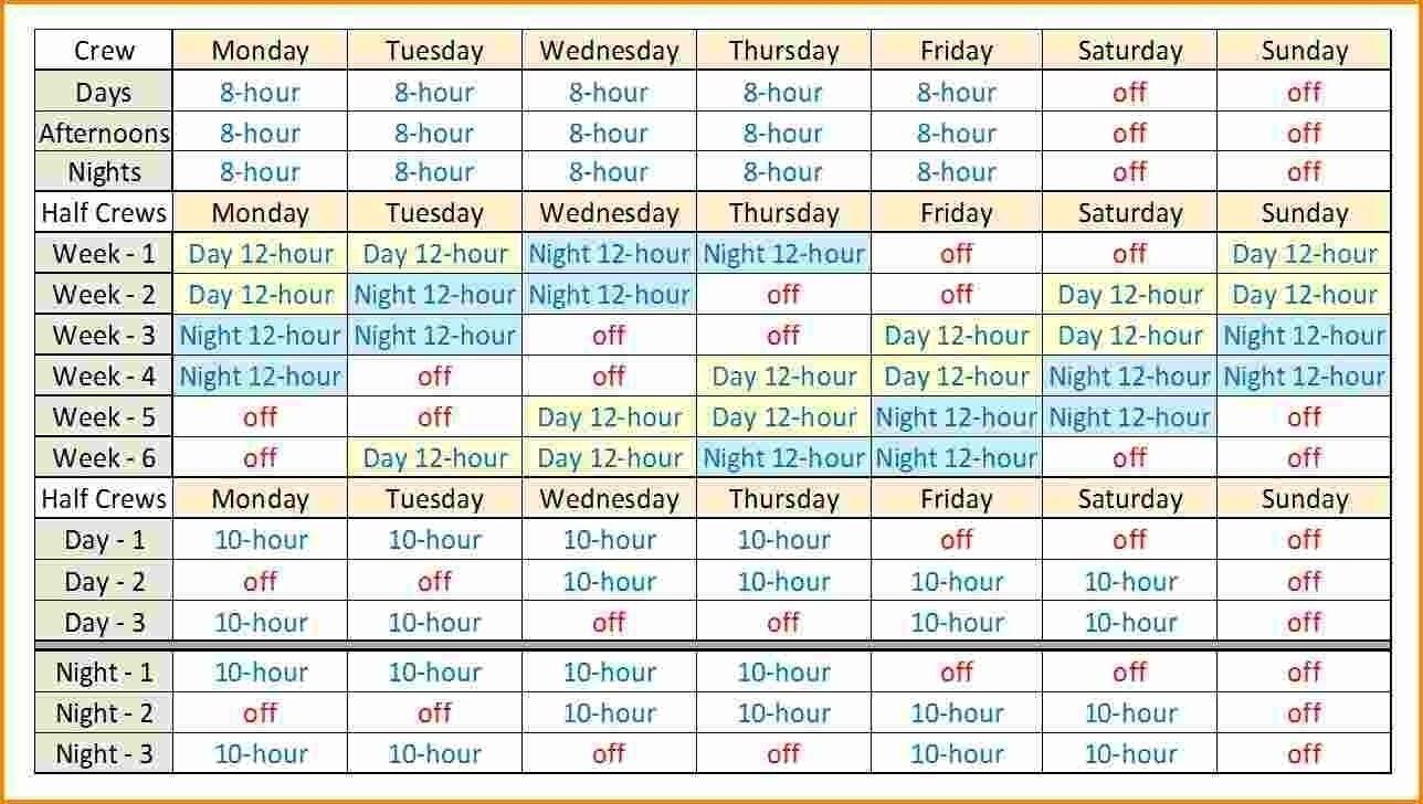 12 Hour Shift Schedule Template - Calendar Inspiration Design