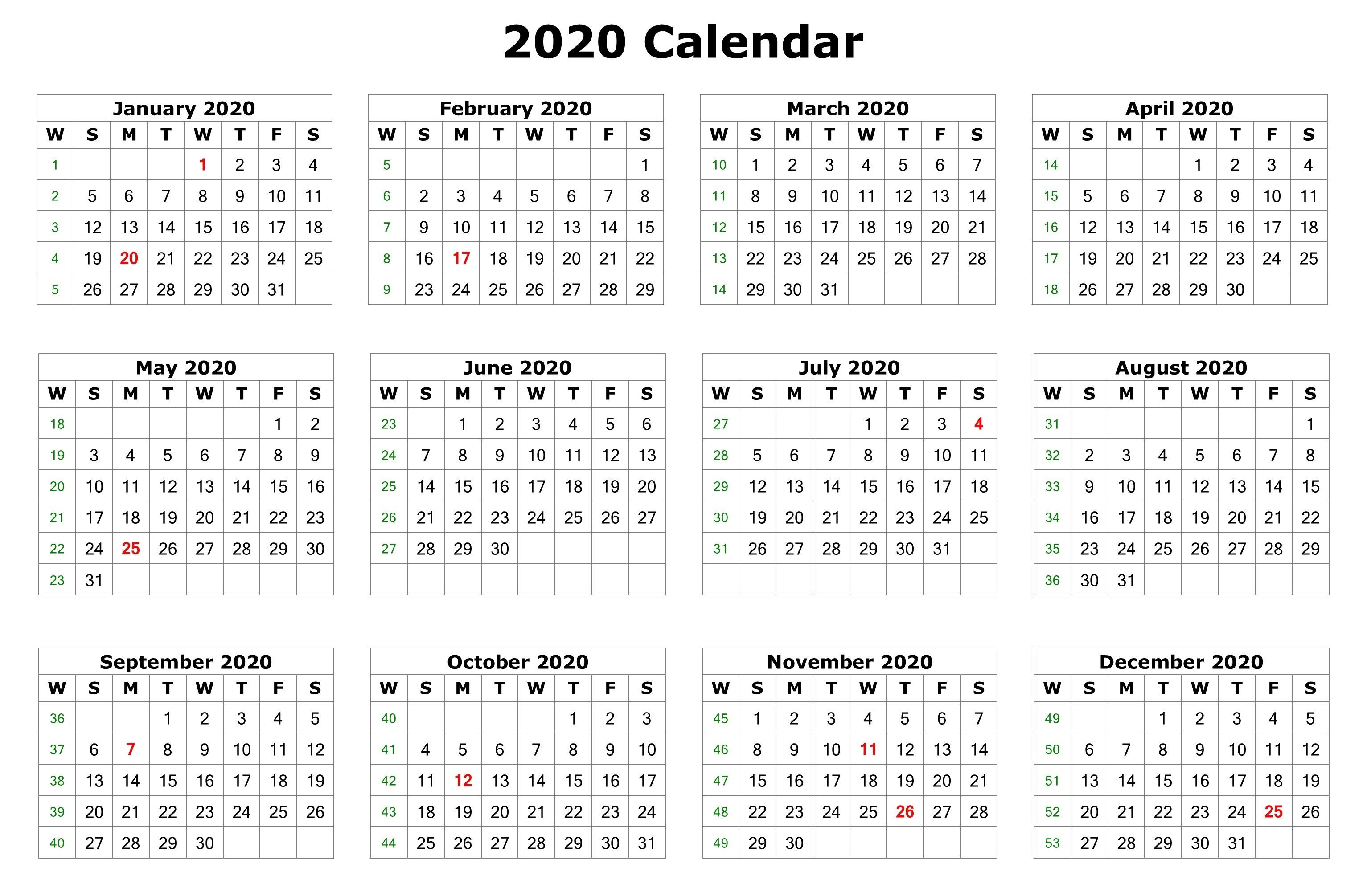 12 Months 2020 Calendar - Tunu.redmini.co