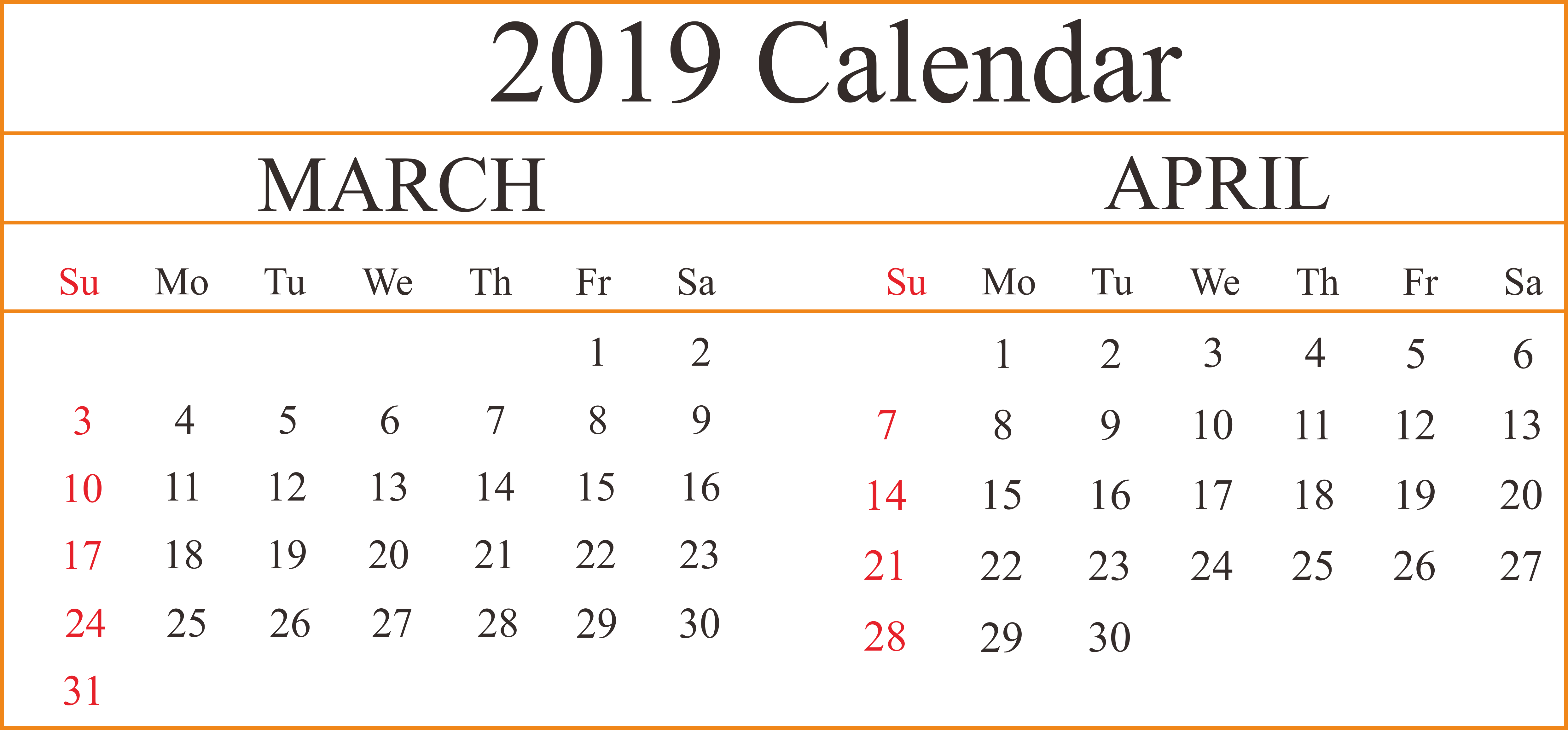 2 Month March April Printable Blank Calendar #marchcalendar