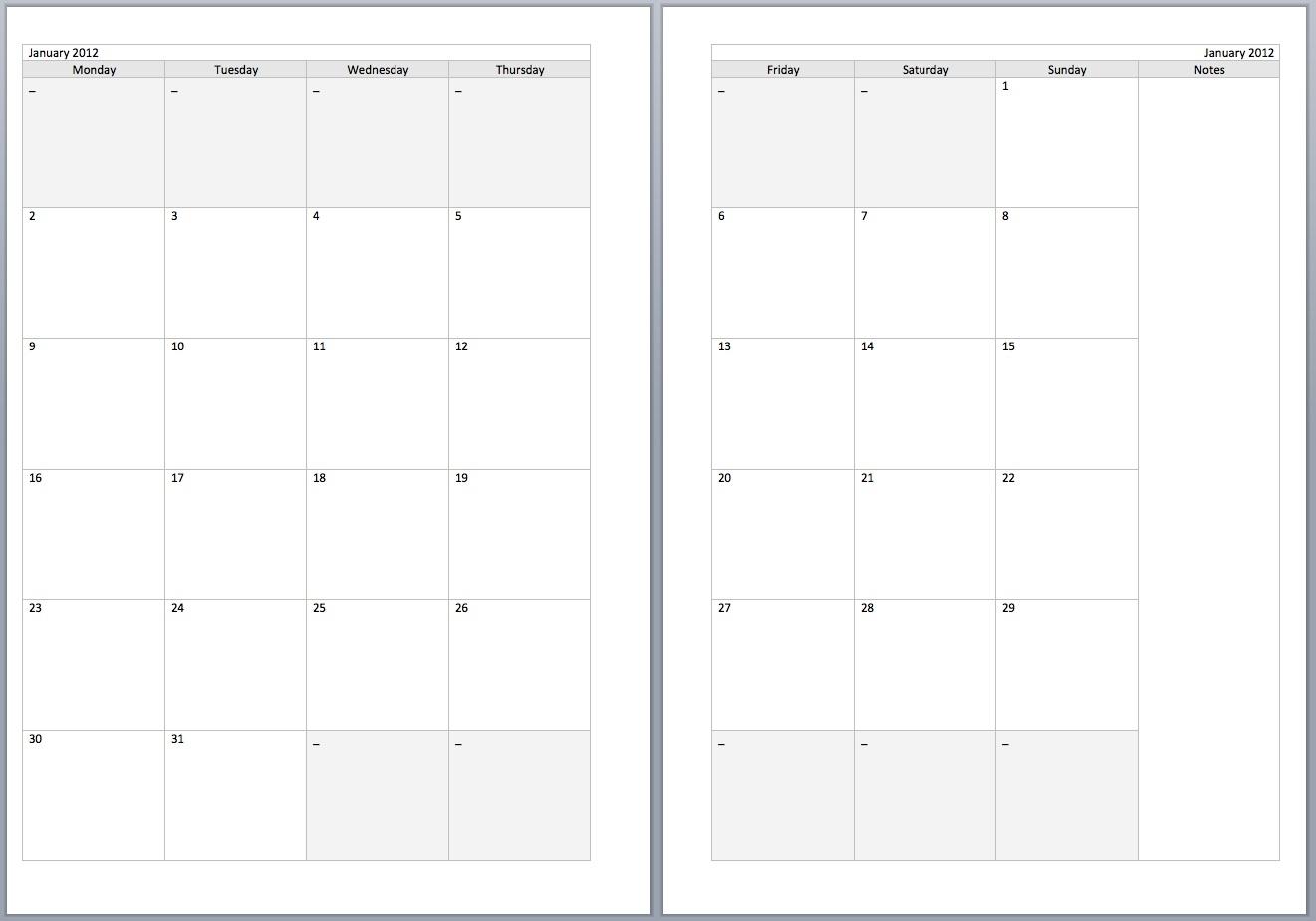 2 Page Calendar Template 2016 | Calendar Template 2019-2
