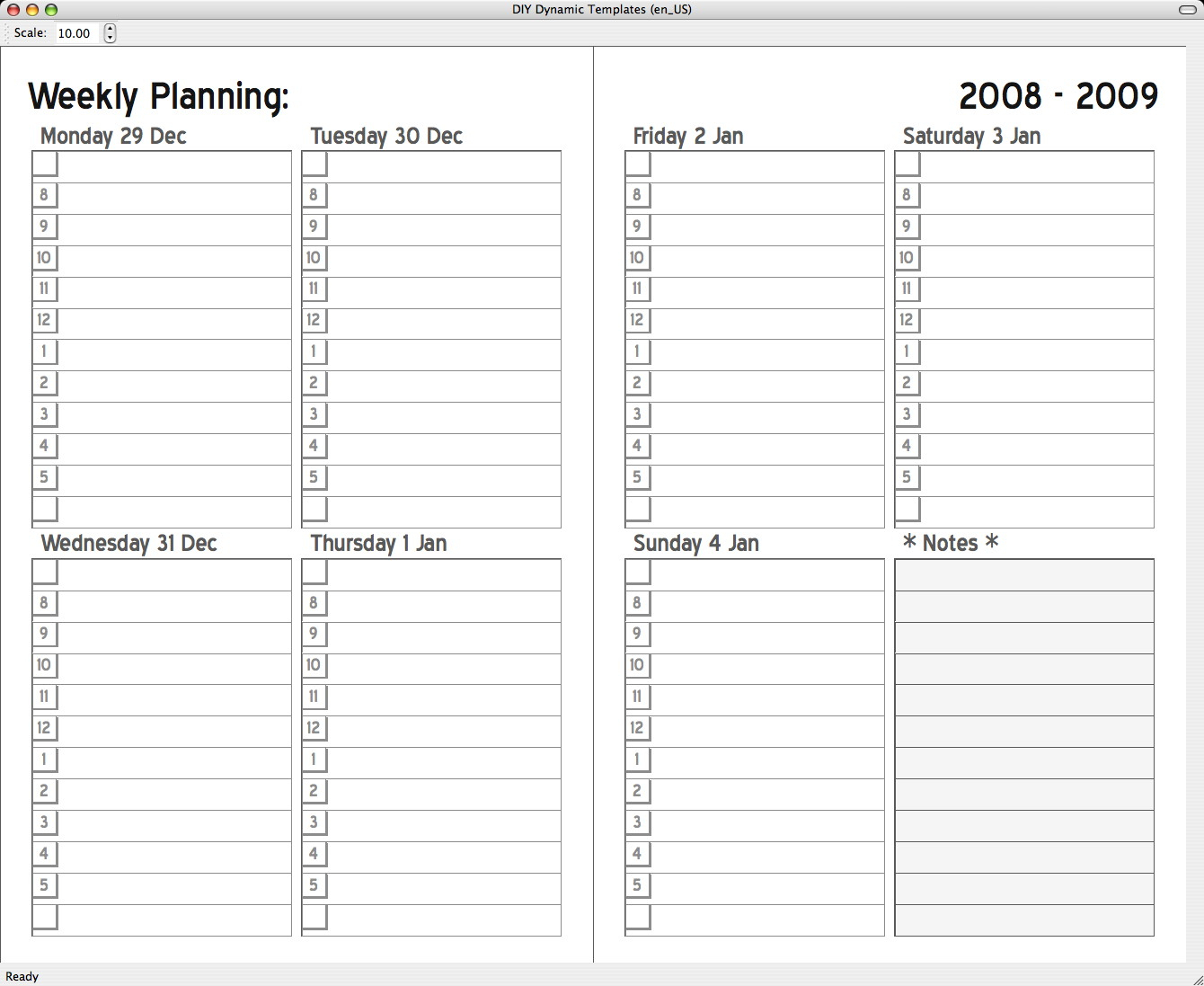 2 Page Weekly Calendar Template - Colona.rsd7