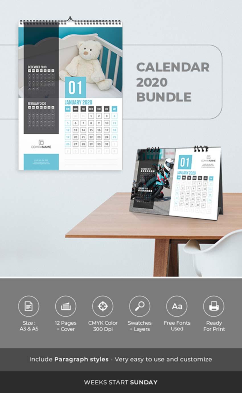 20+ Best Indesign Calendar Templates 2020 – Creative Touchs