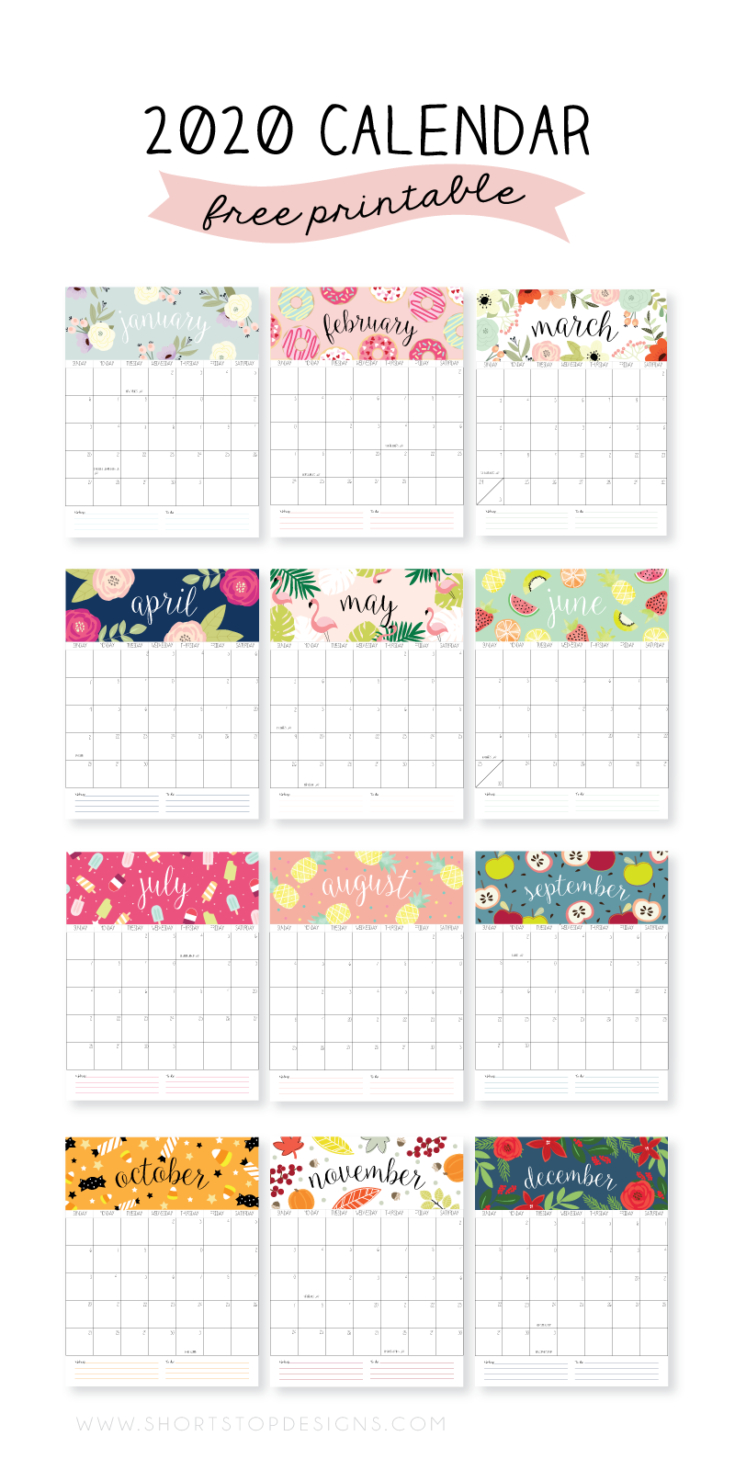 20 Free Printable 2020 Calendars - Lovely Planner