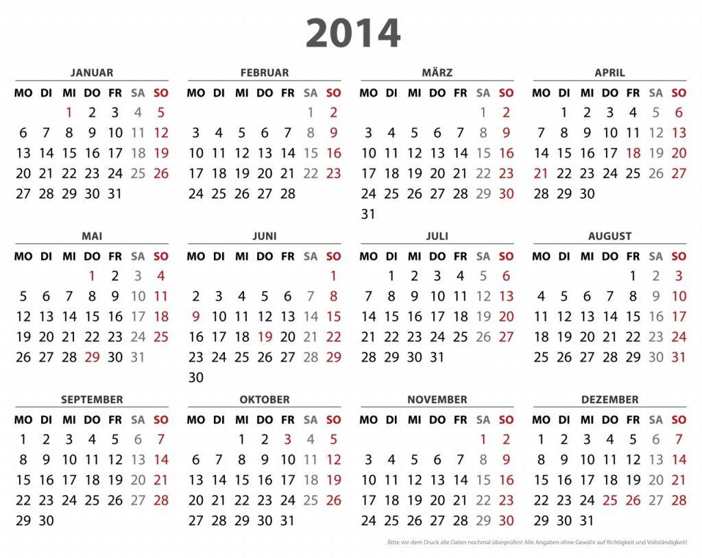 2014 Calendar – Calendar Yearly Printable