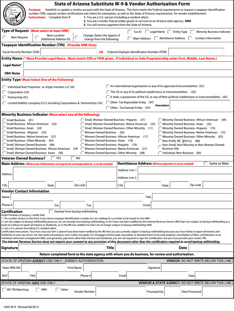 2015-2020 Form Az Gao-W-9 Fill Online, Printable, Fillable