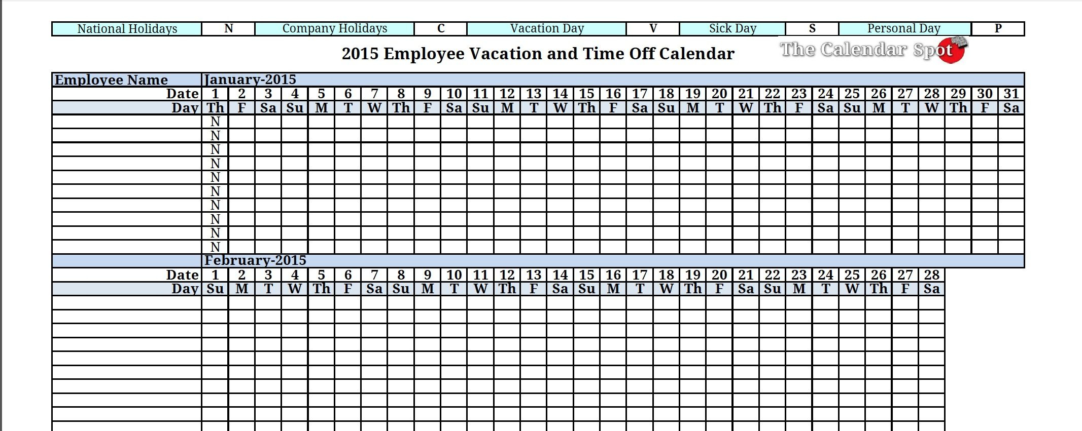2015 Employee Vacation Absence Tracking Calendar | Vacation