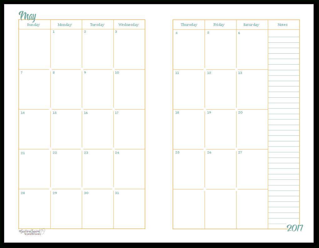 2017 Half-Size Monthly Calendar Printables | A5 Planner