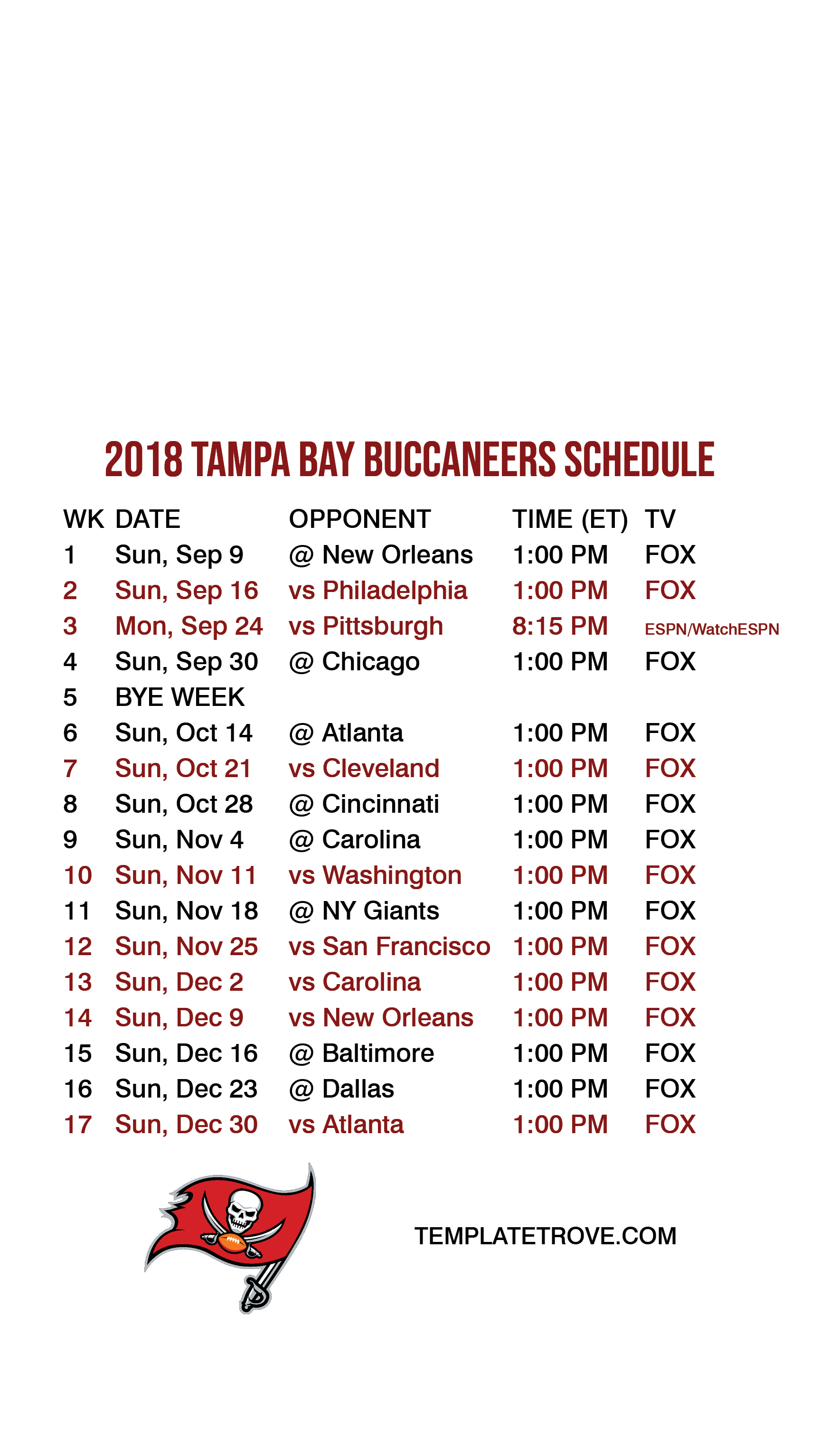 2018-2019 Tampa Bay Buccaneers Lock Screen Schedule For