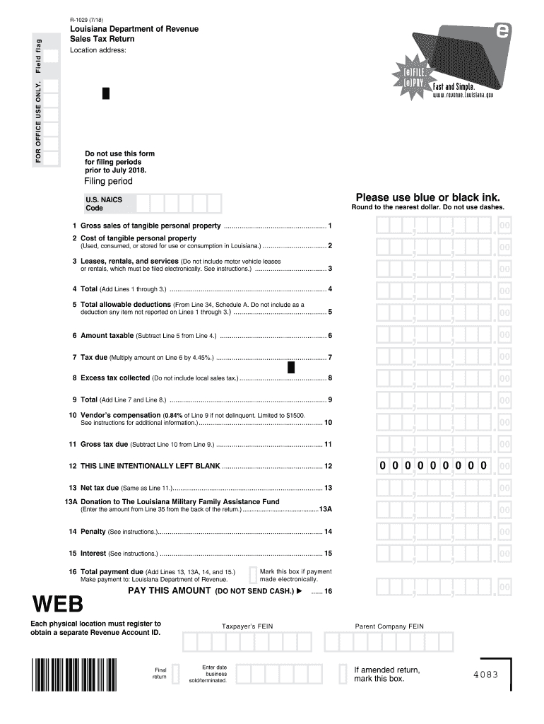 2018-2020 Form La R-1029 Fill Online, Printable, Fillable