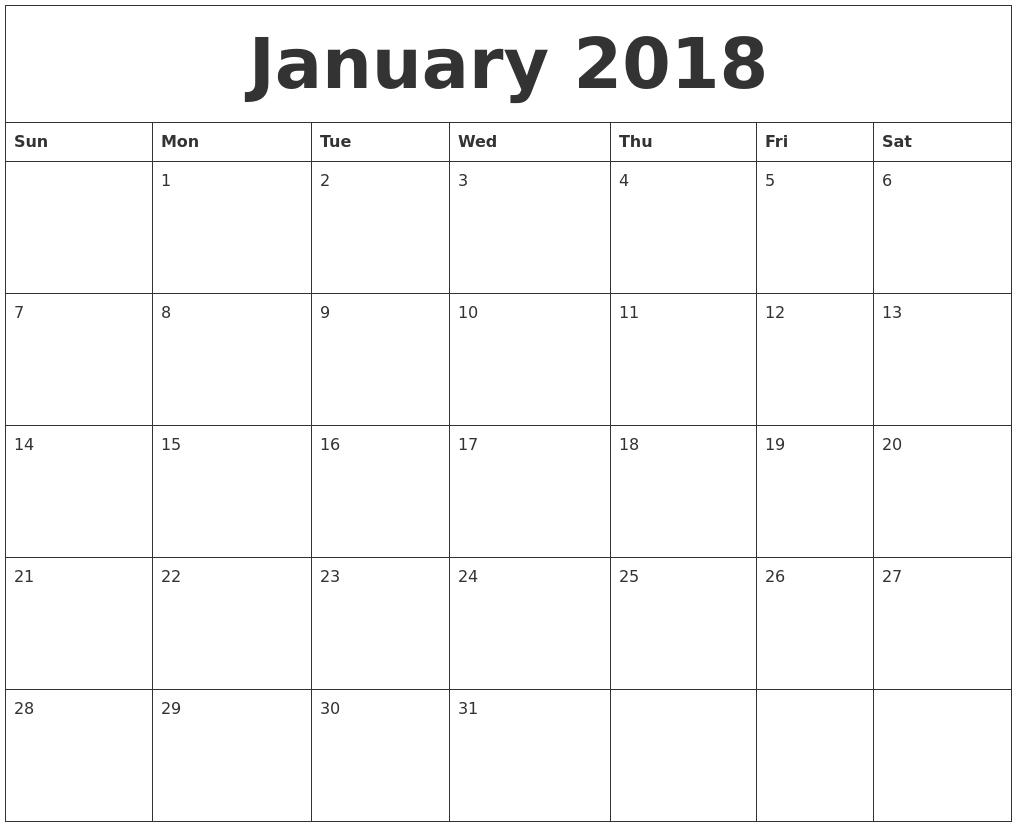 2018 Calendar Templates | Word, Excel & Pdf Templates