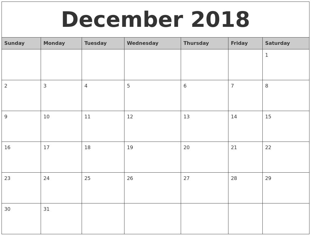 2018 December Simple Calendar | December Calendar, Calendar