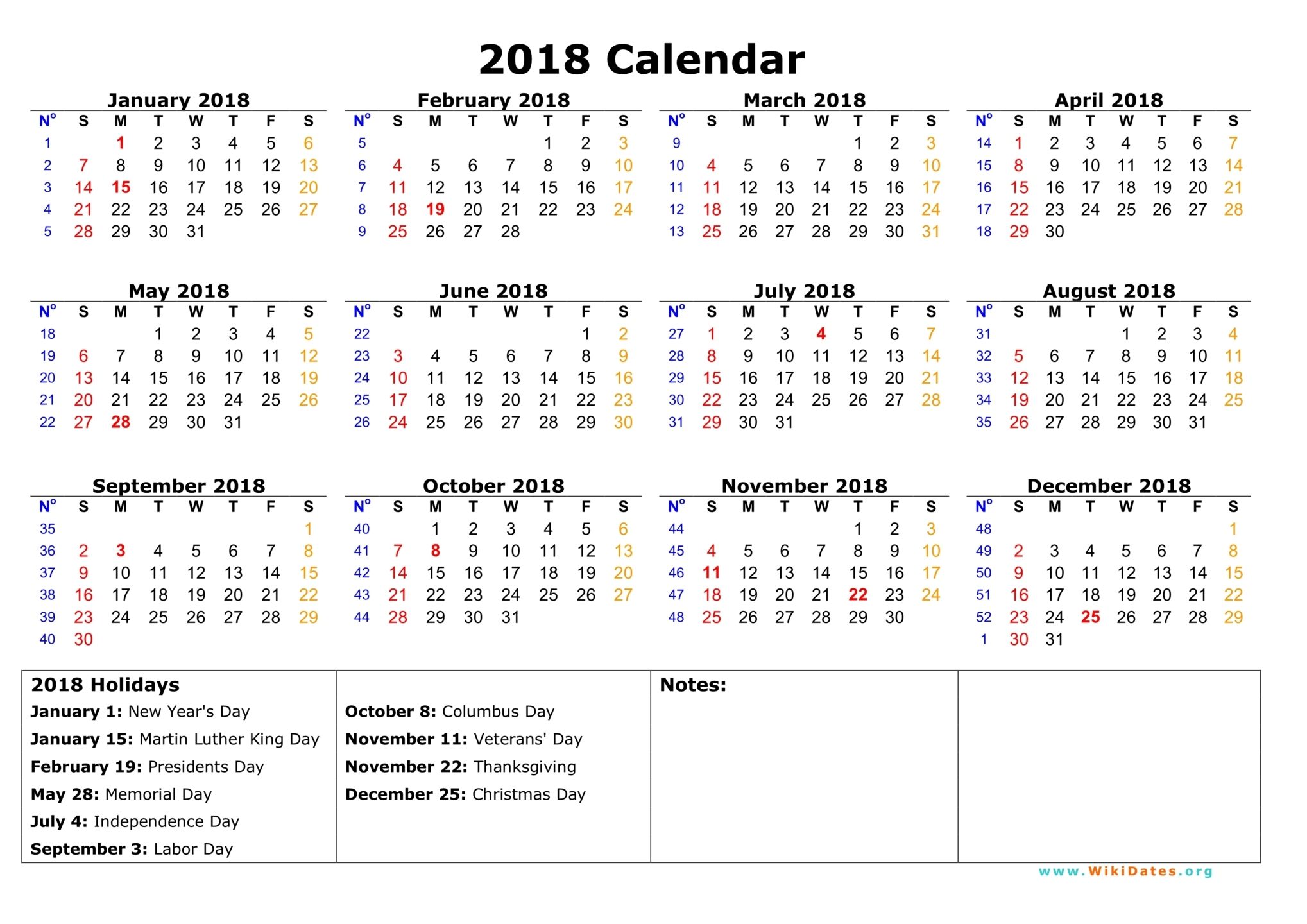 2018 Holiday Calendar - Usa, Federal, Jewish - Web E