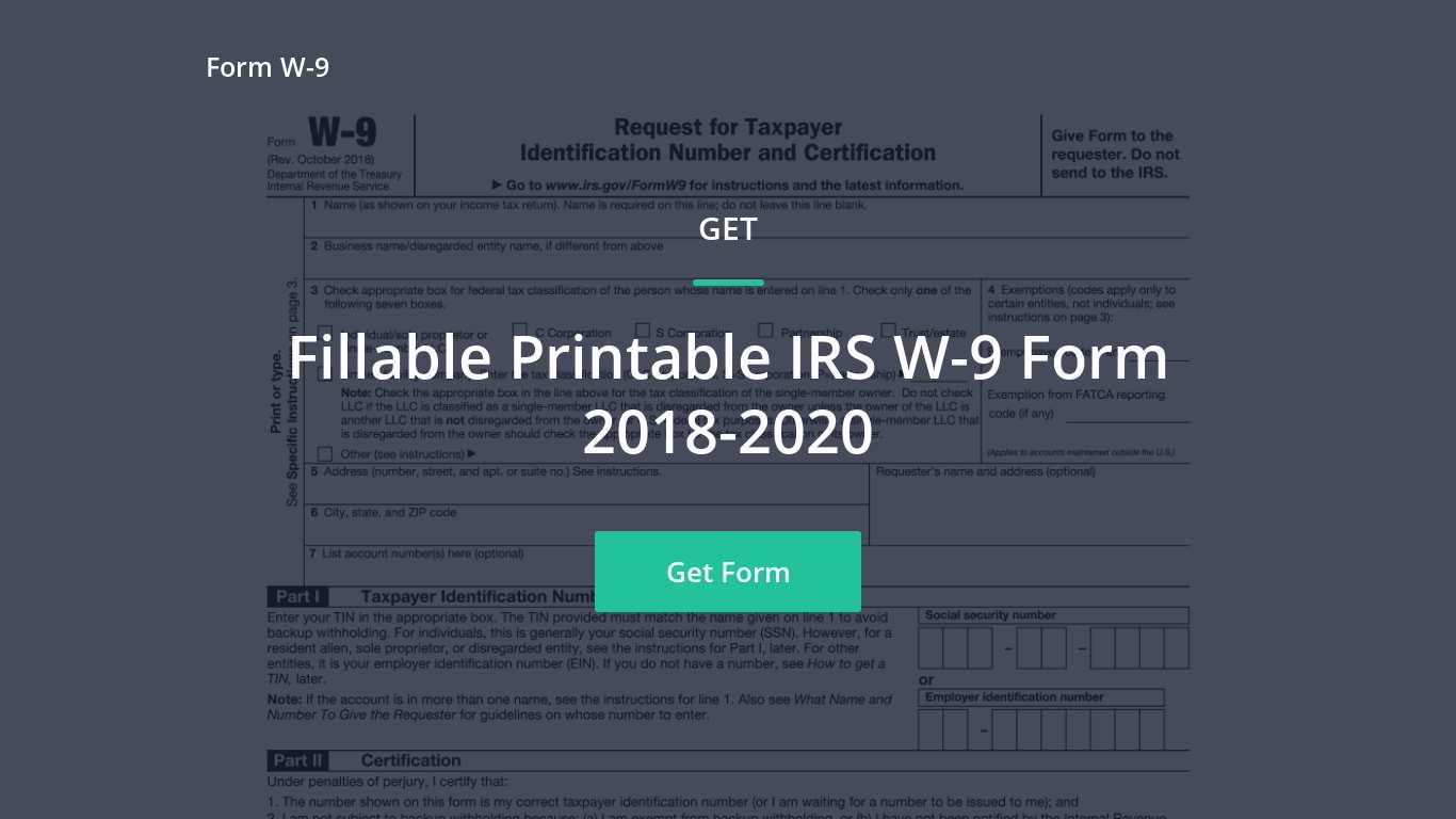 2018 Irs W-9 Form - Free W9Form-Online -Change To