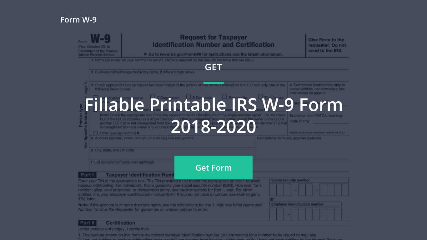 2018 Irs W-9 Form - Free W9Form-Online -Change To