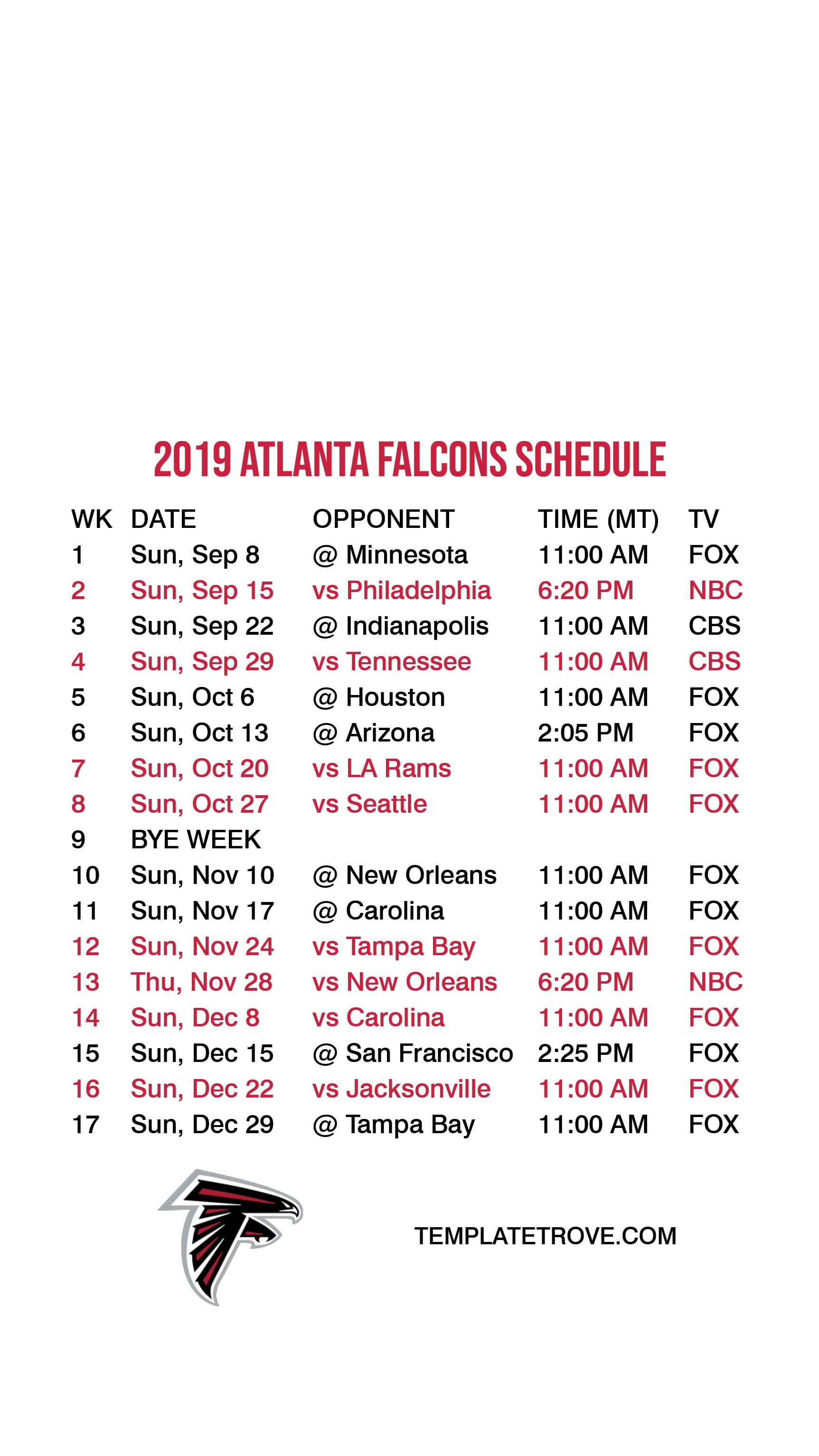 2019-2020 Atlanta Falcons Lock Screen Schedule For Iphone 6