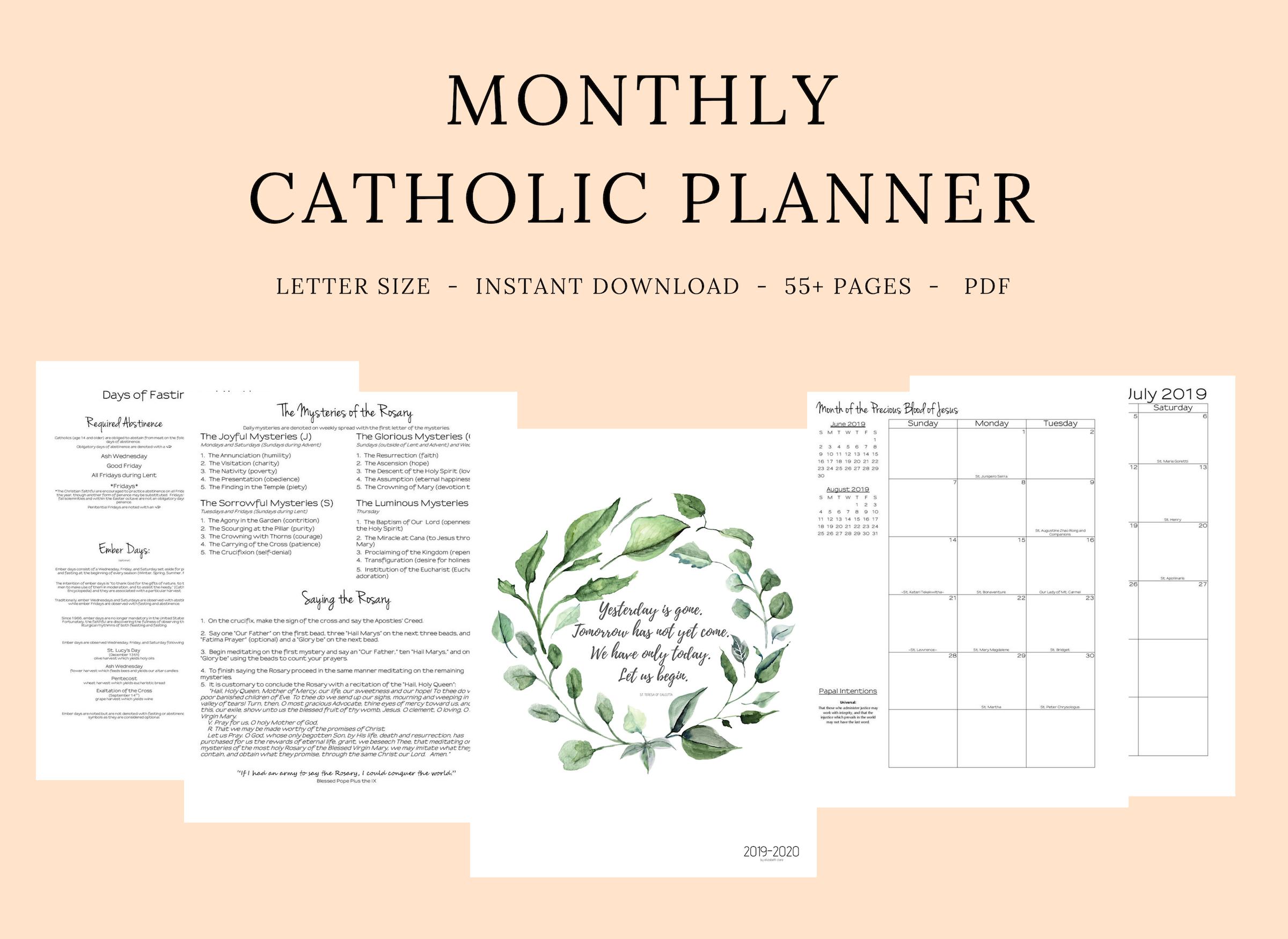 2019- 2020 Catholic Monthly Planner