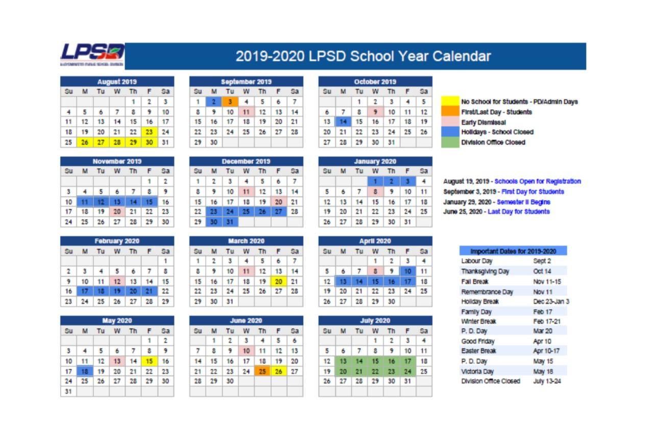 2019-2020 School Year Calendar | College Park School