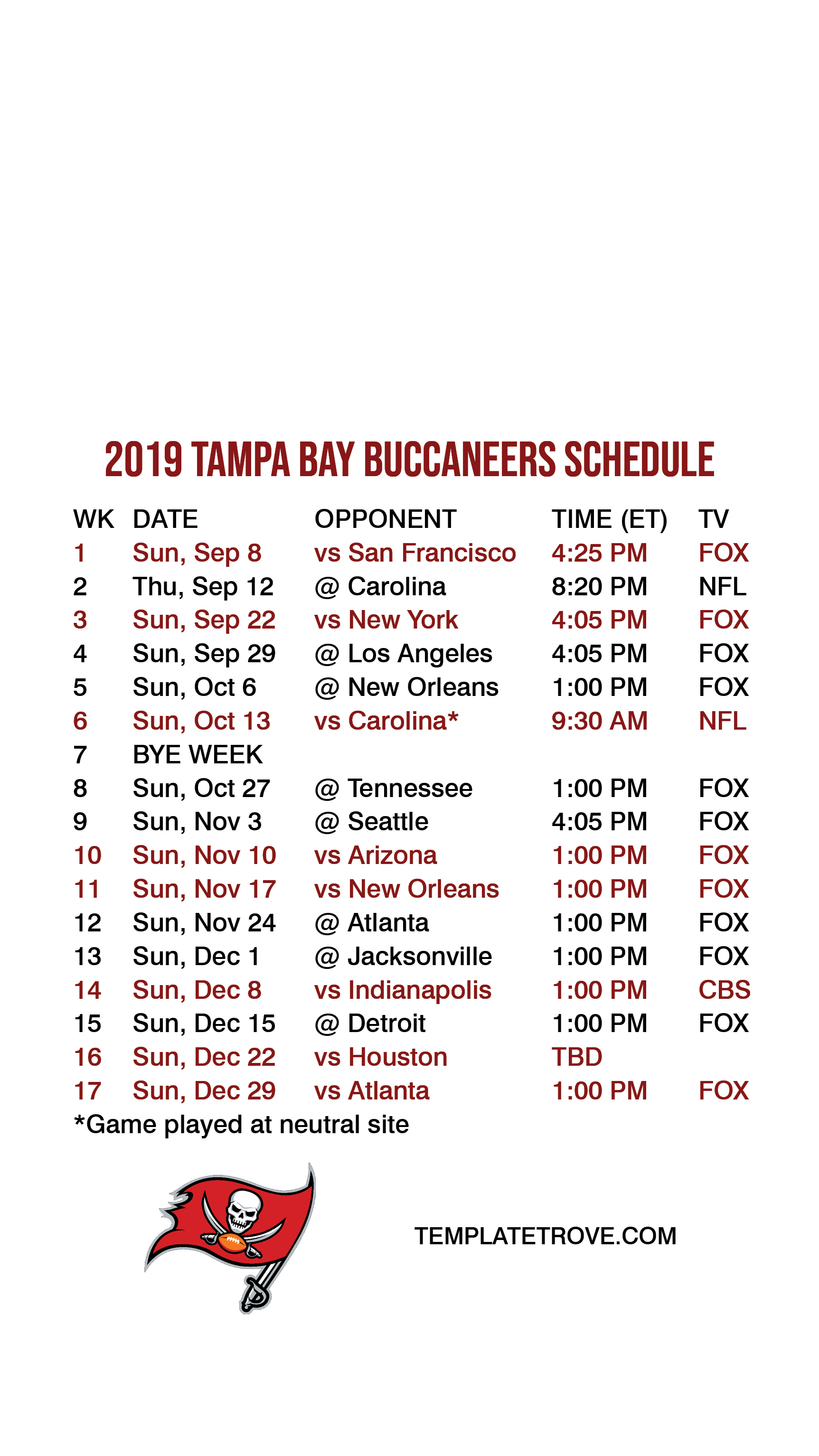 2019-2020 Tampa Bay Buccaneers Lock Screen Schedule For