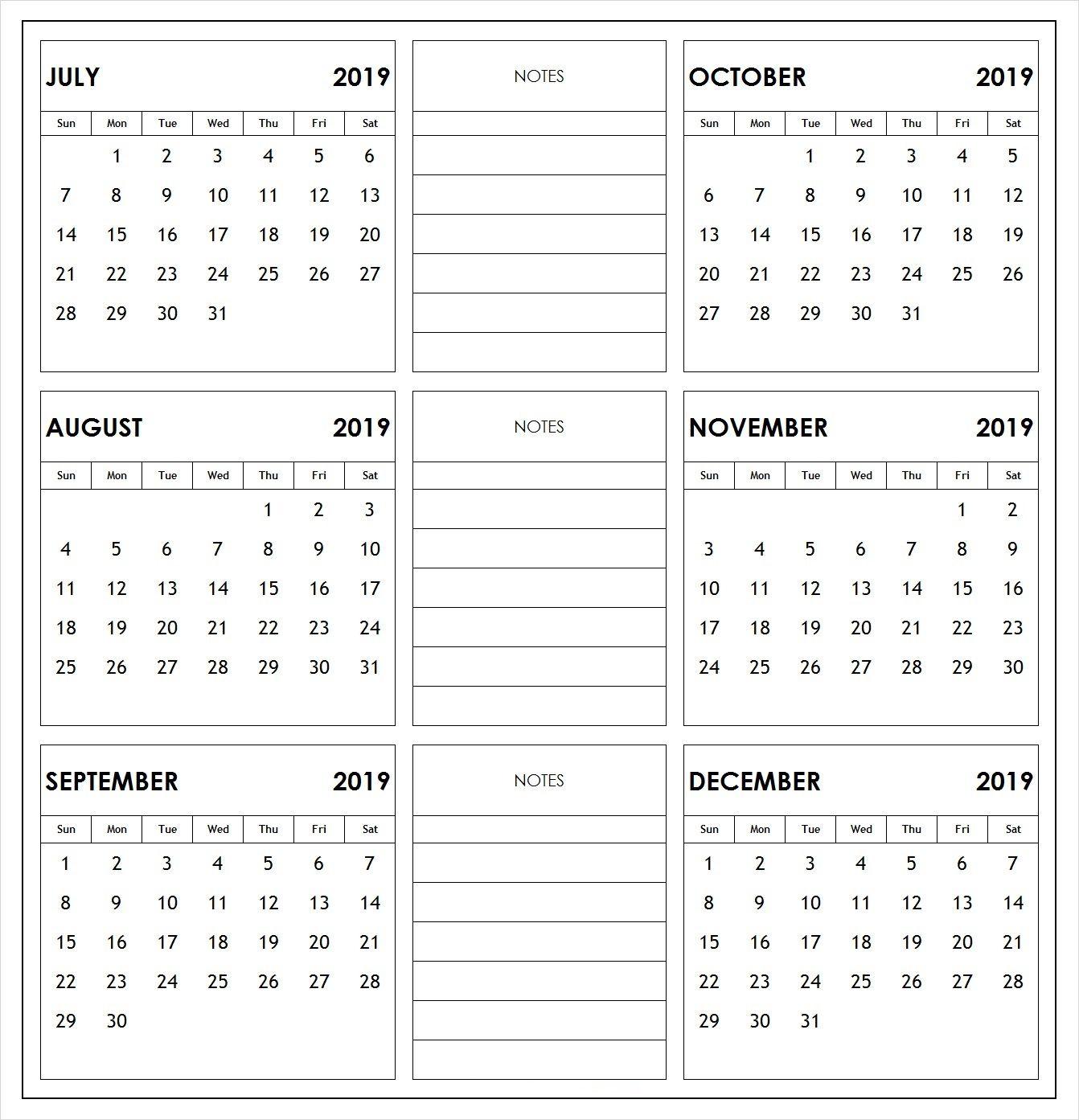 2019 6 Months Half Year Calendar Printable Download